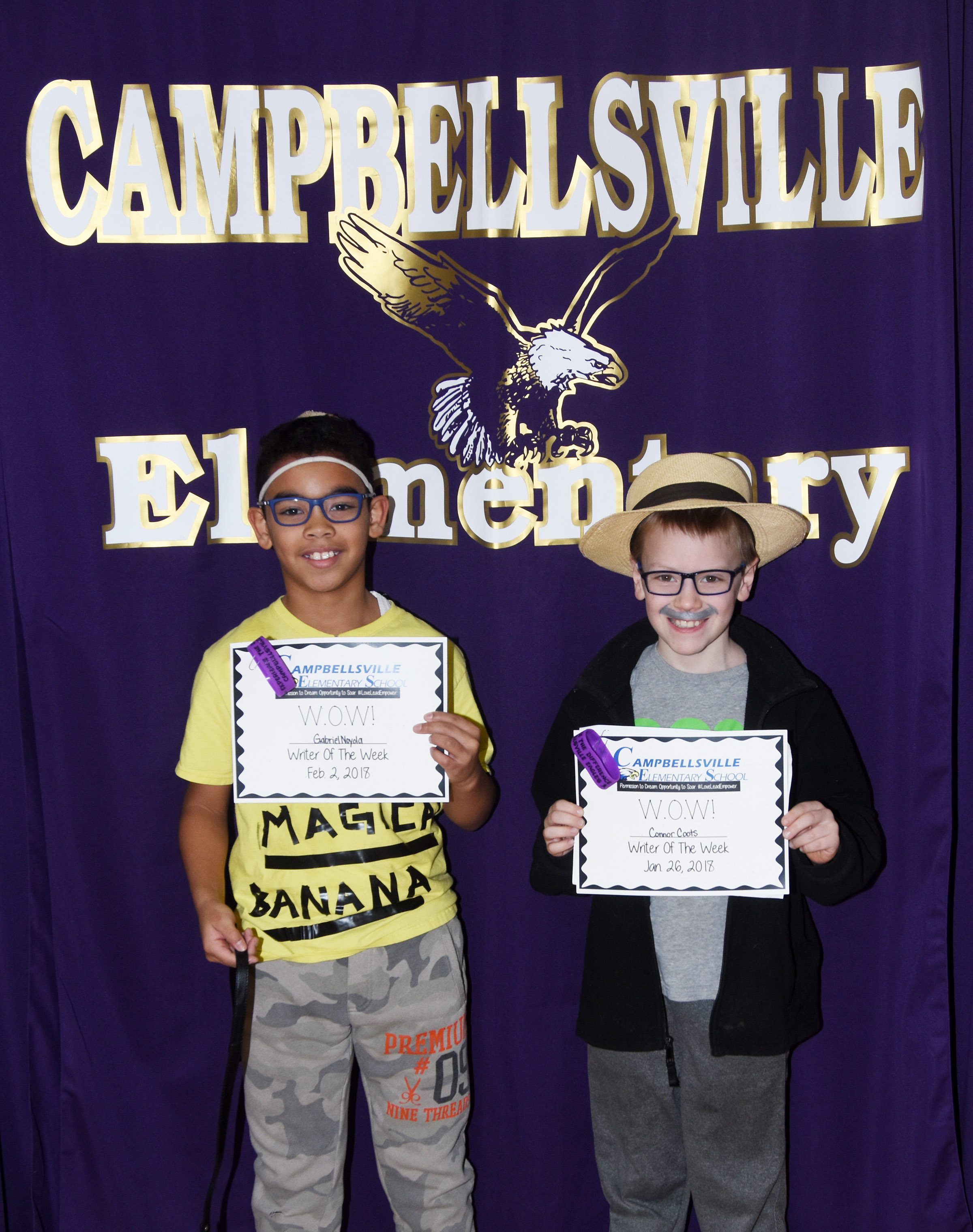 CES fifth-grader Gabriel Noyola, at left, and fourth-grader Connor Coots are their school's Writers of the Week for the week of Jan. 29.
