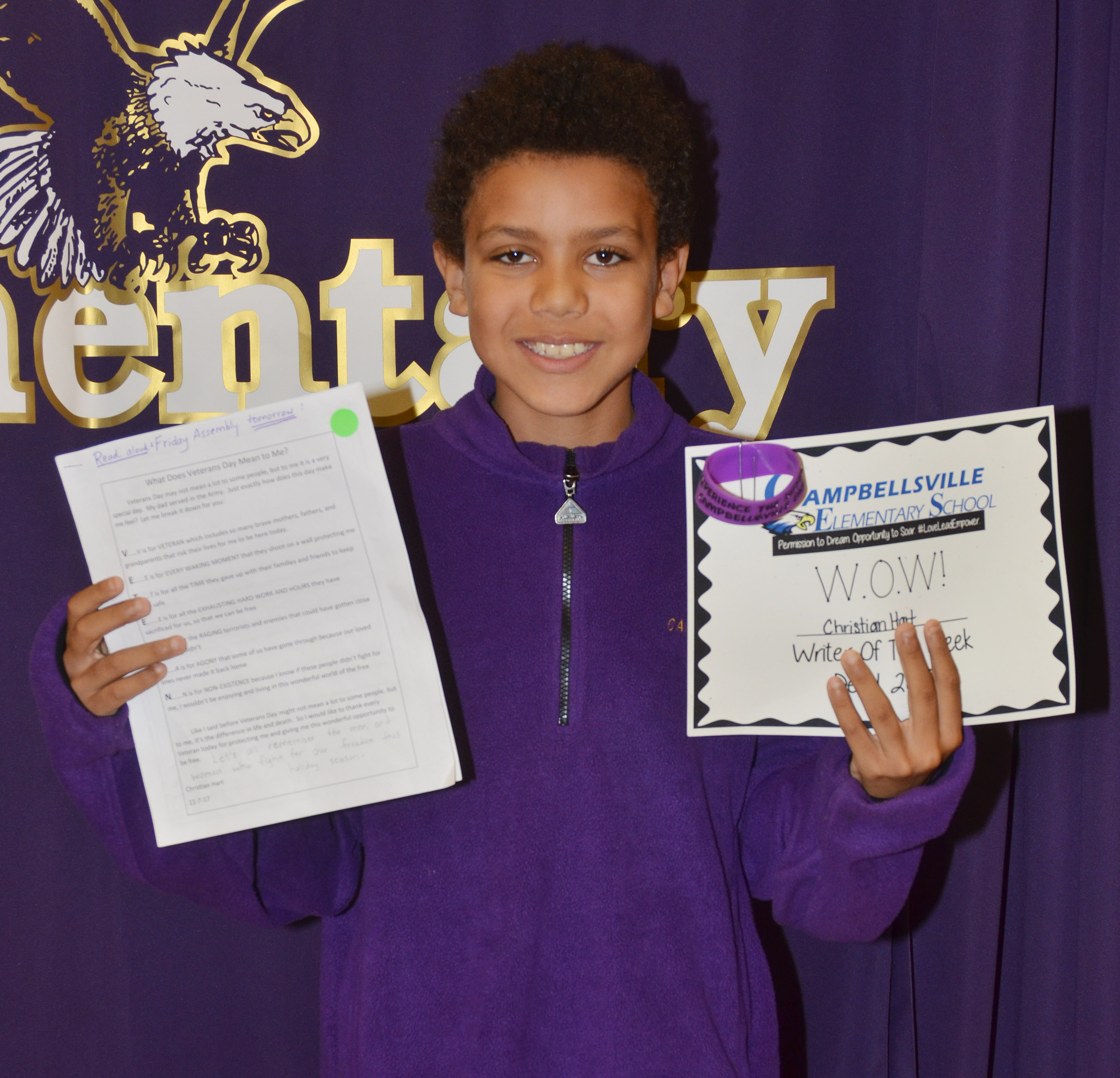 CES fourth-grader Christian Hart is his school's Writer of the Week for the week of Nov. 27.