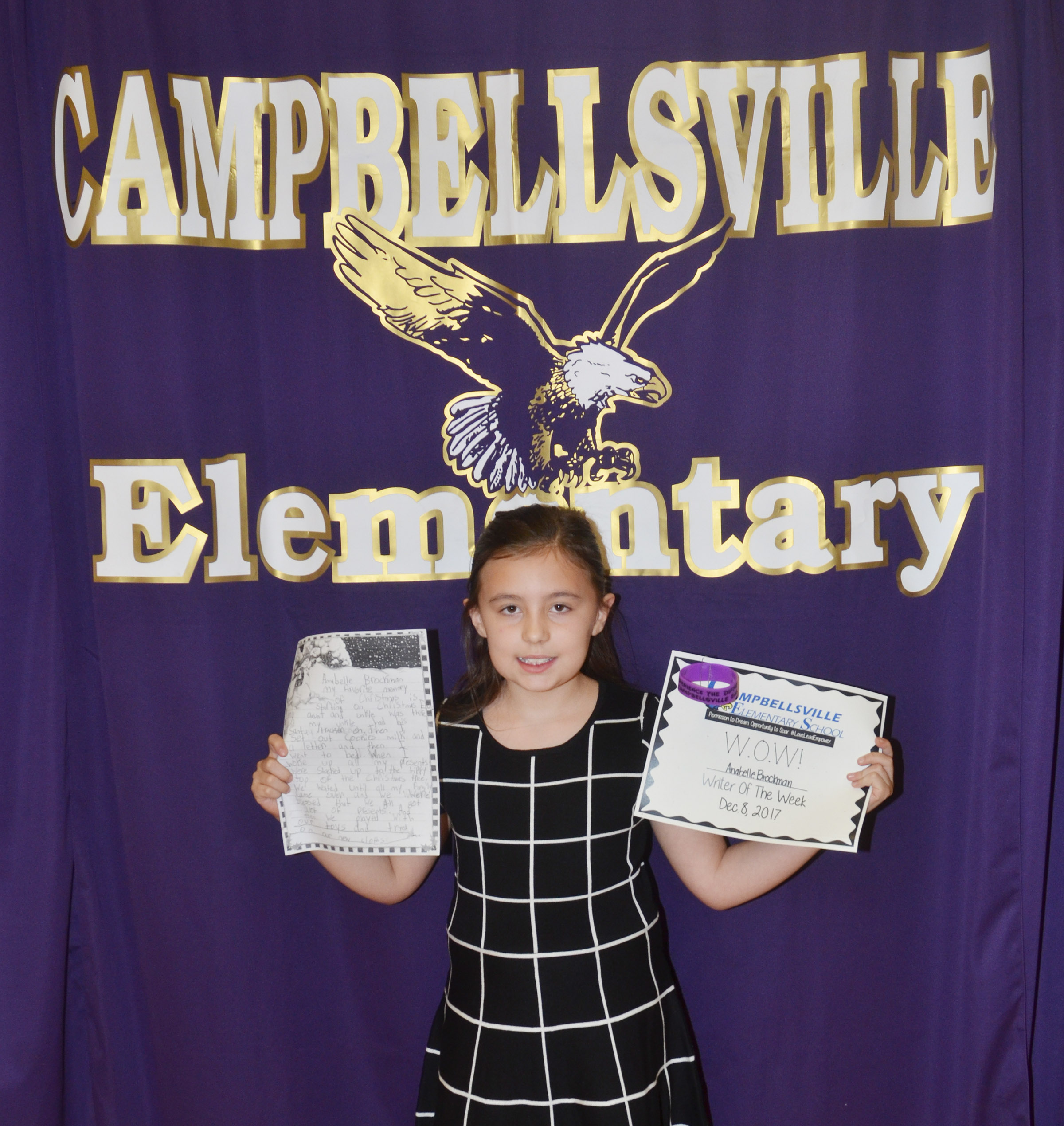 CES third-grader Annabelle Brockman is her school's Writer of the Week for the week of Dec. 4.
