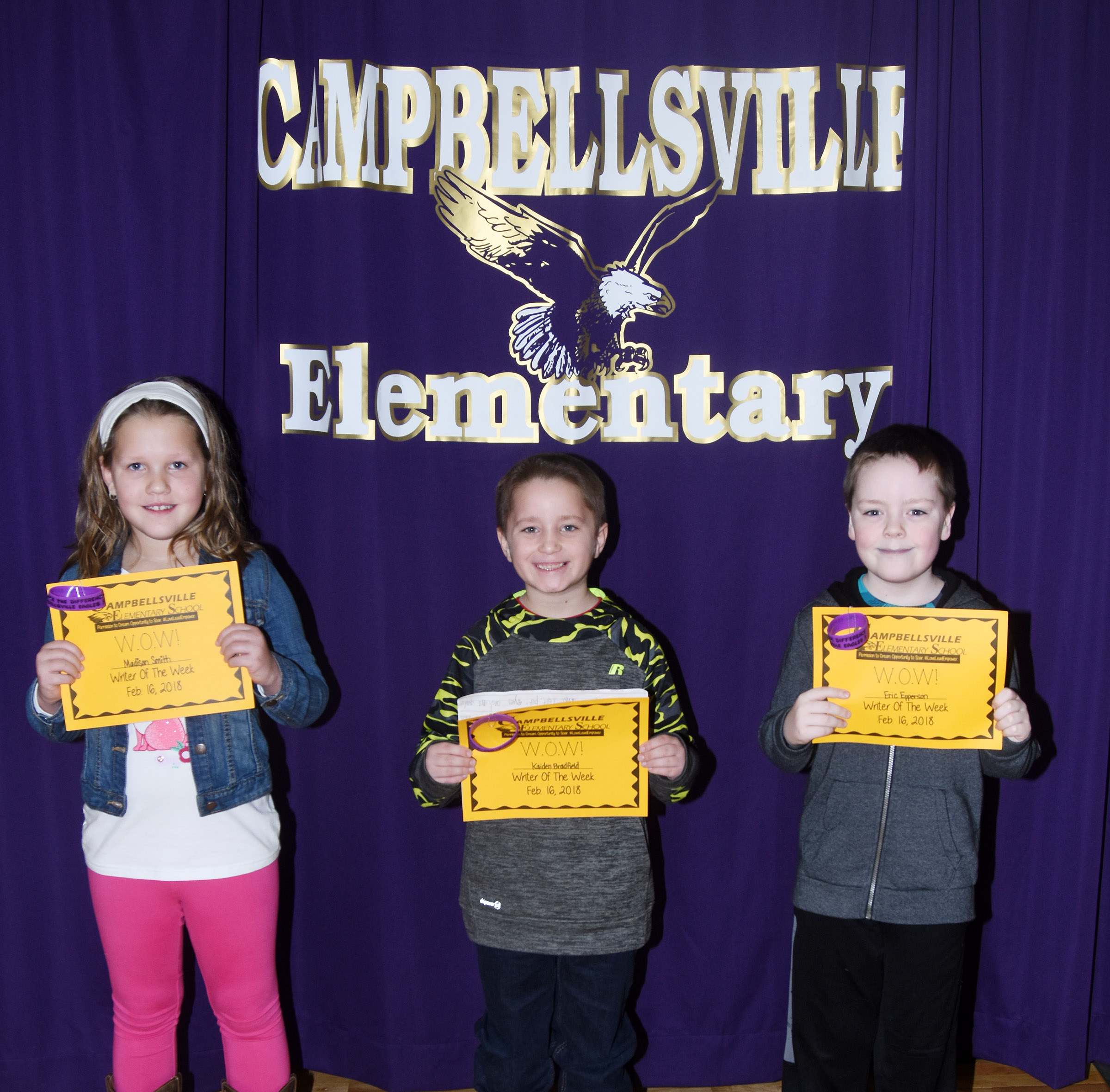 From left, CES third-grader Madison Smith, first-grader Kaiden Bradfield and second-grader Eric Epperson are their school's Writers of the Week for the week of Feb. 12.