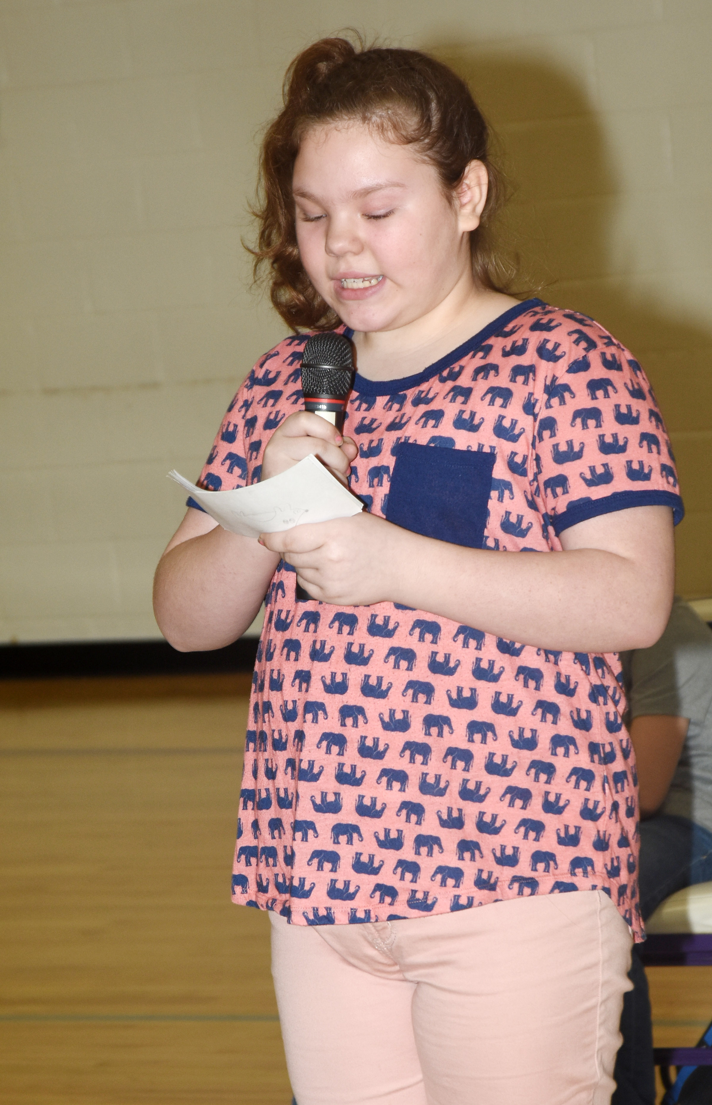 CES fifth-grader Averi Perkins read her speech about her pet hedgehog.