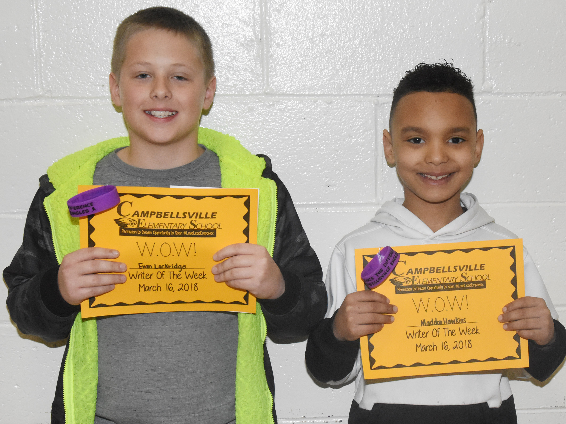 CES third-graders Evan Lockridge, at left, and Maddox Hawkins were named Writers of the Week for the week of March 12.