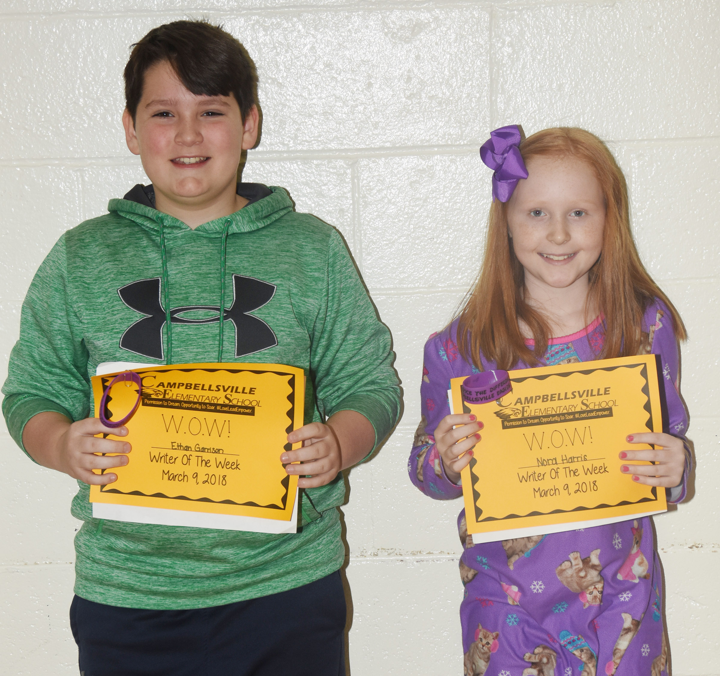 CES fourth-graders Ethan Garrison, at left, and Nora Harris are the Writers of the Week for their school for the week of March 5.