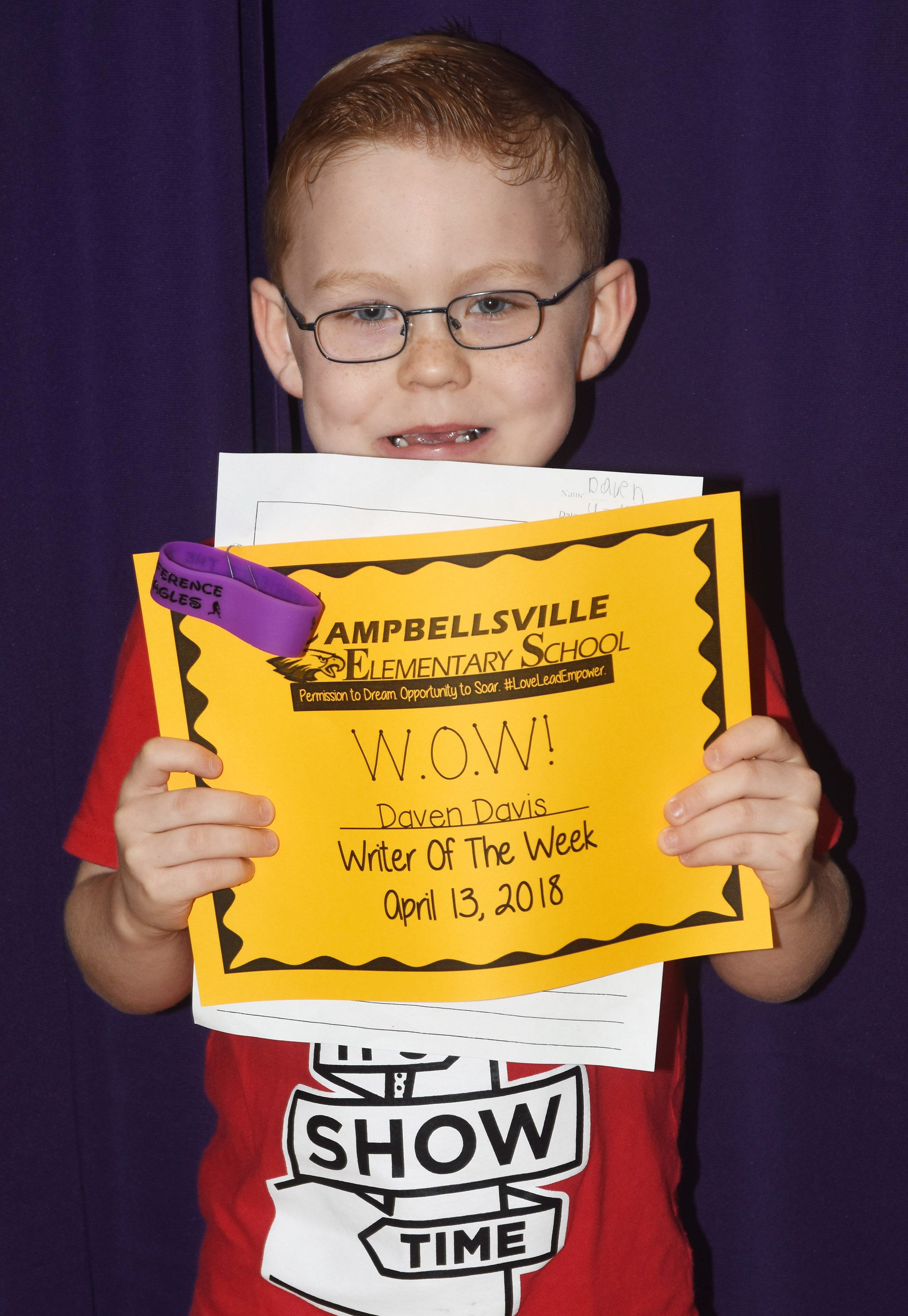 CES first-grader Daven Davis was named his school's Writer of the Week for the week of April 9.