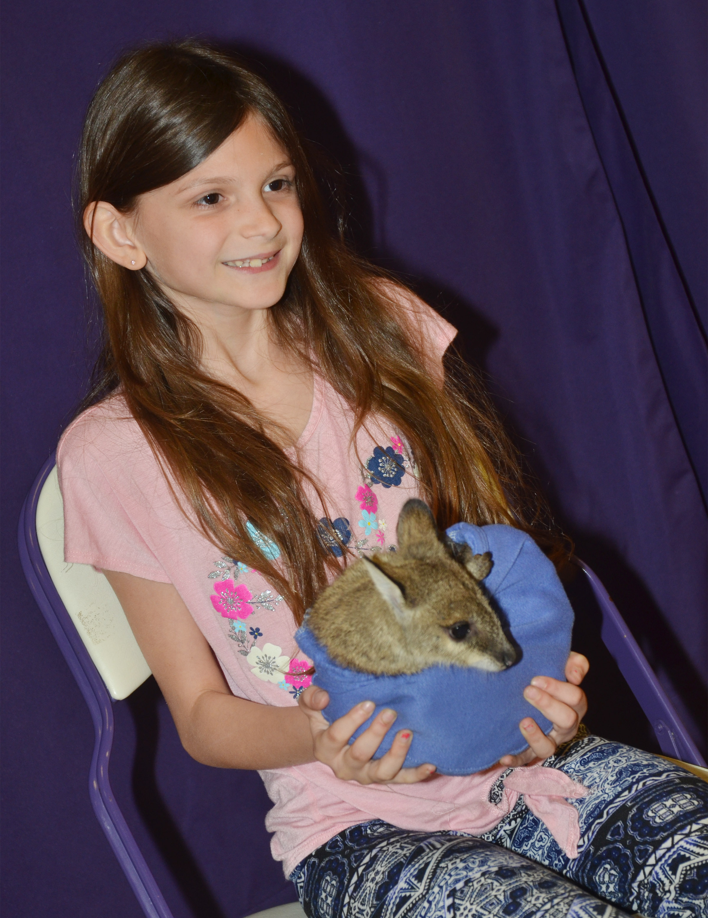 CES third-grader Madie Gebler holds Wendy the baby kangaroo.