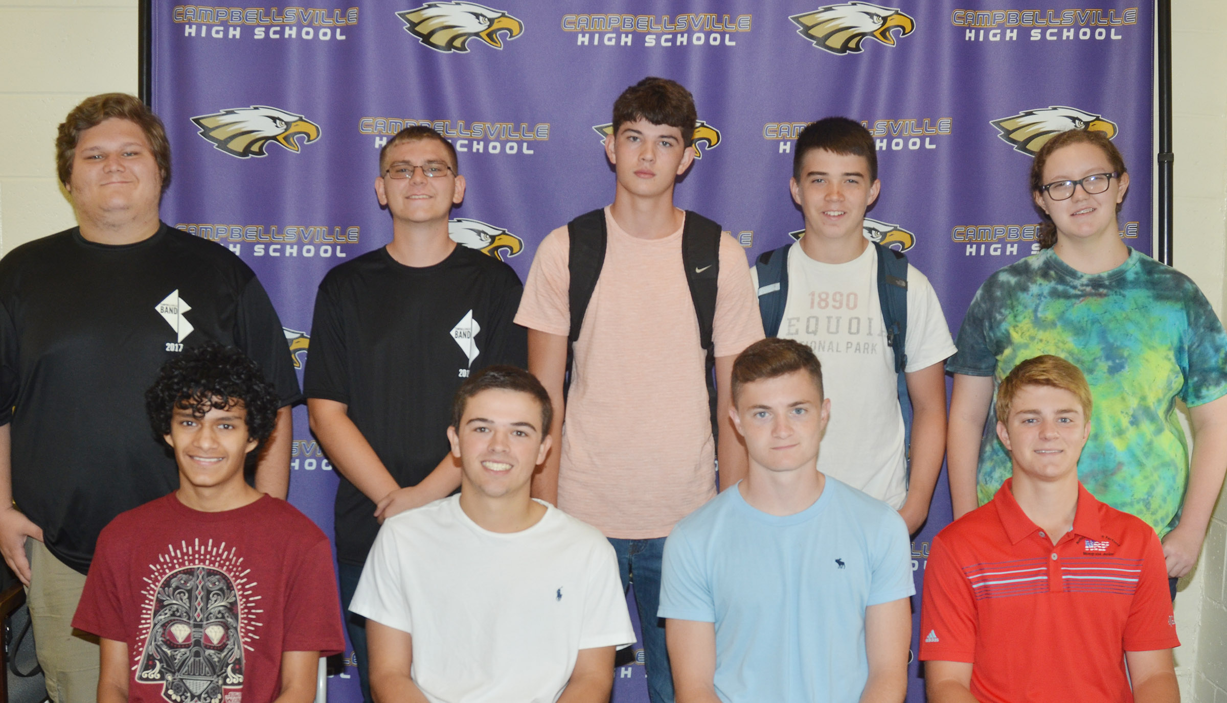 Campbellsville High School students were recently recognized for their high AP test scores. Students who received scores of 3, 4 and 5, which will likely qualify for college credit, are, from left, front, sophomore Ben Arachi, junior Ryan Kearney and seniors Bryce Richardson and Alex Doss. Back, juniors Randy Harris and Brandon Greer and sophomores Mark Rigsby, Cole Kidwell and Emily Rodgers.