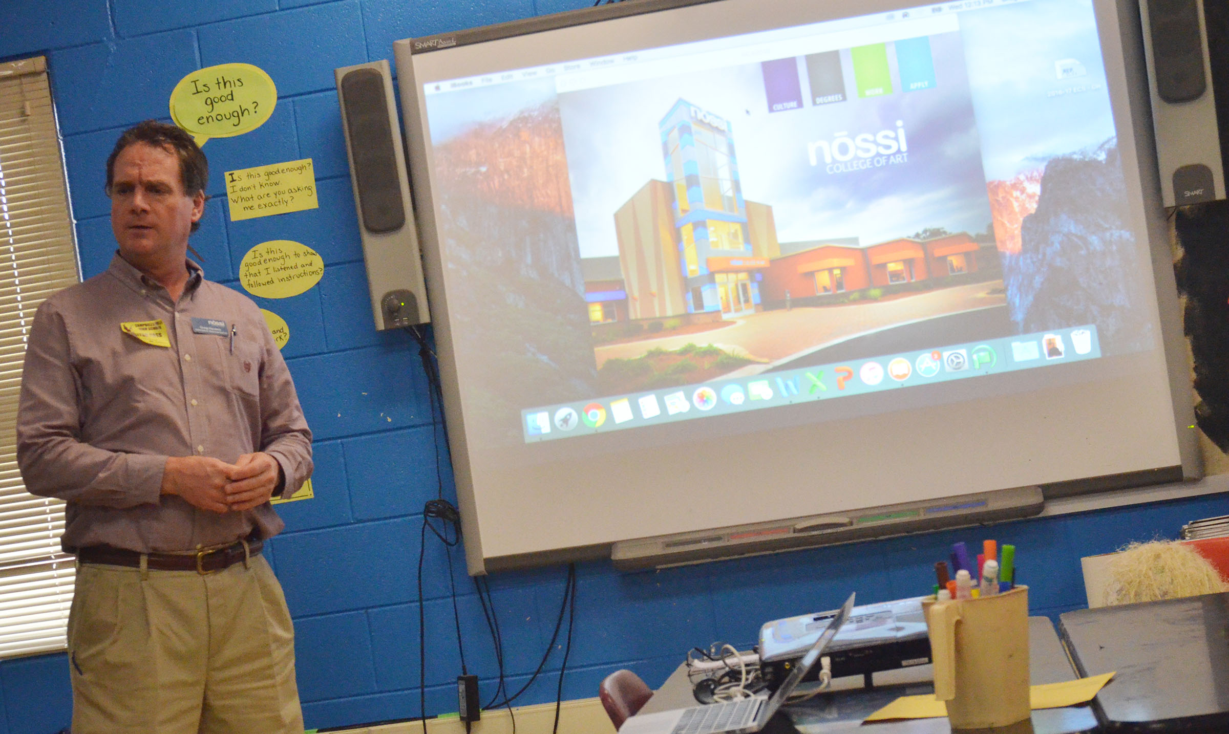 Greg Havens, an admissions representative from the Nossi College of Art in Nashville, Tenn., talks to CHS art students about turning their love of art into a career.