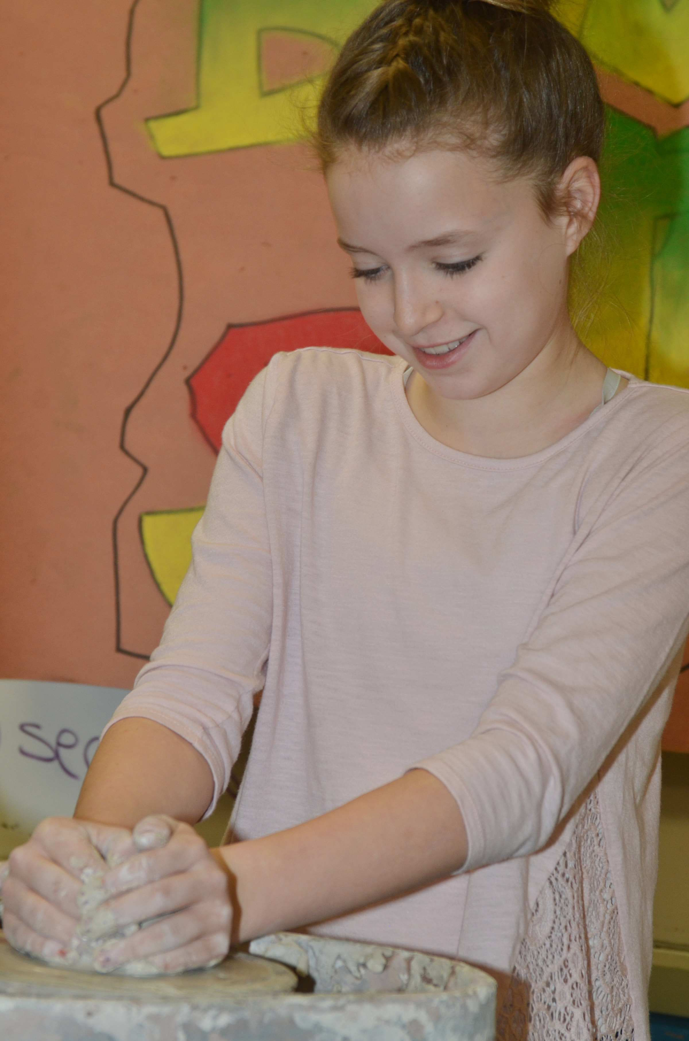 Campbellsville Middle School seventh-grader Rylee Petett tries the potter's wheel.