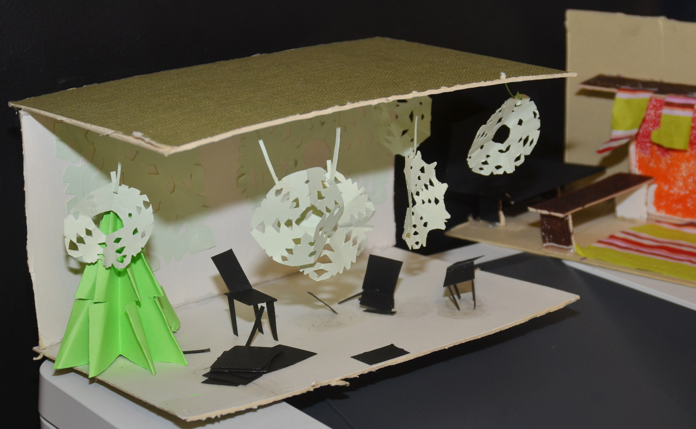 CHS art students created miniature models of their set designs, like this one.