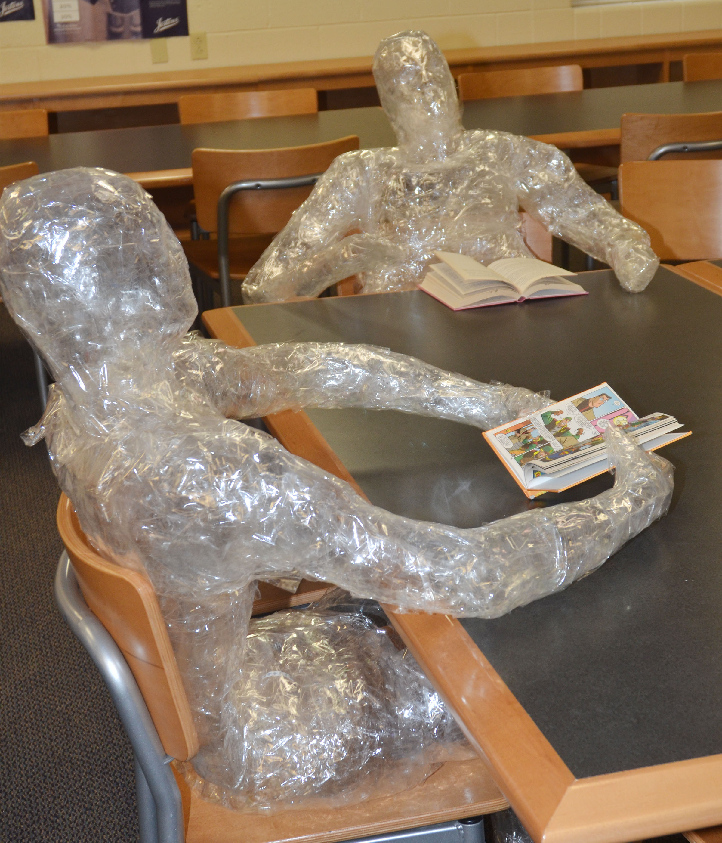 Tape sculptures like this one have been seen around Campbellsville middle and high schools.
