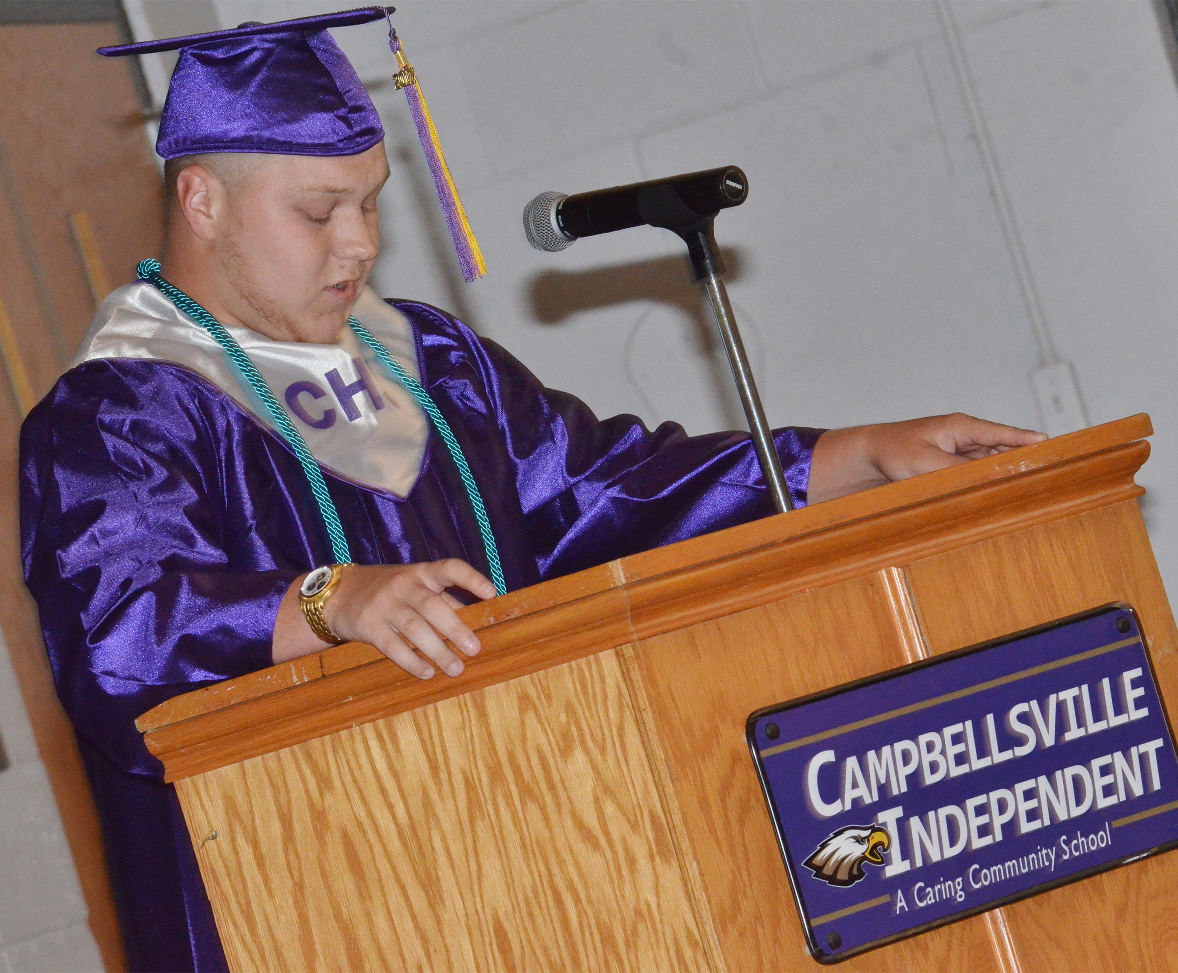 CHS senior Noah Wagers introduces his dad, Steve, to speak at the baccalaureate ceremony.