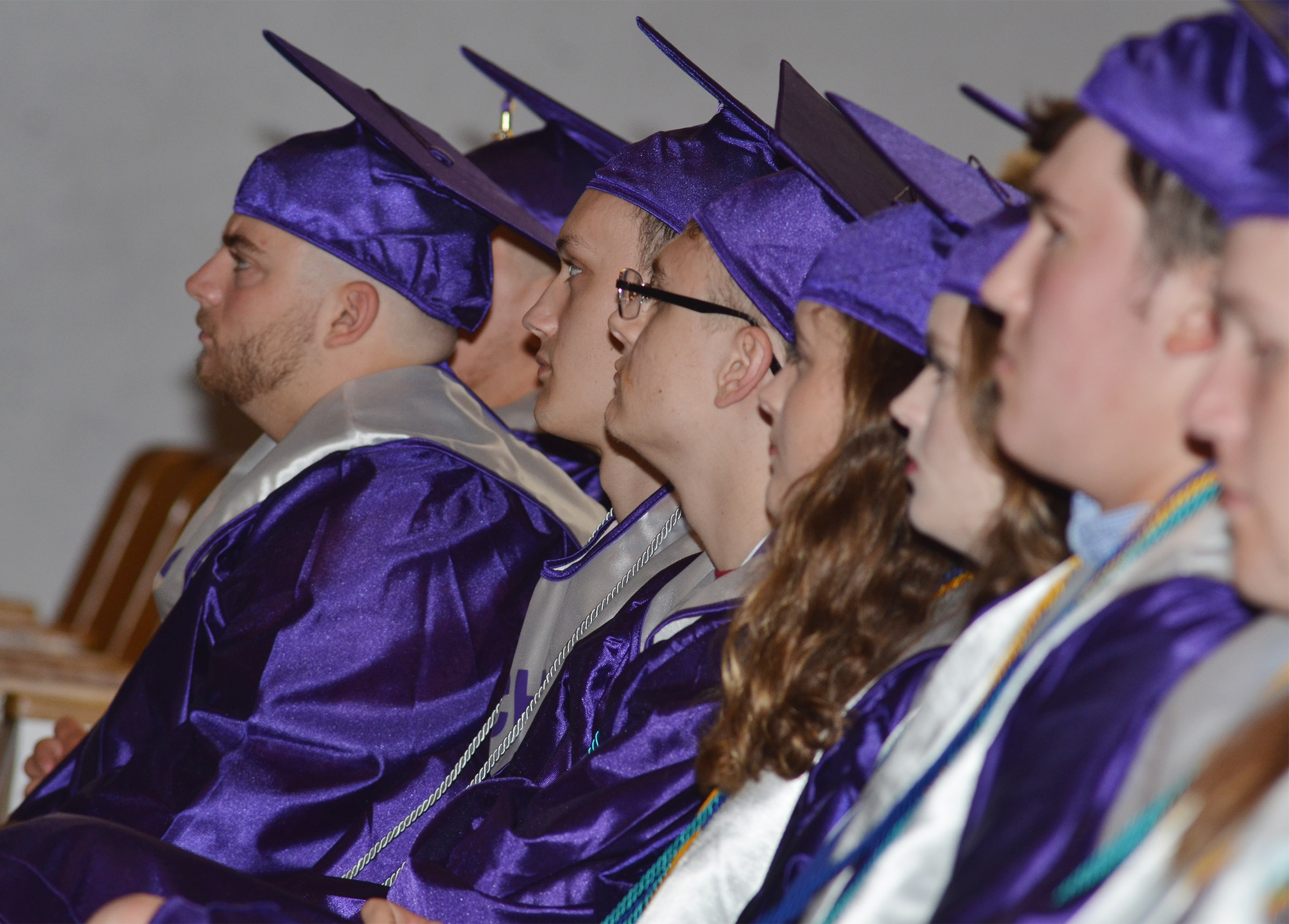 CHS seniors listen to Steve Wagers as he delivers the baccalaureate ceremony.