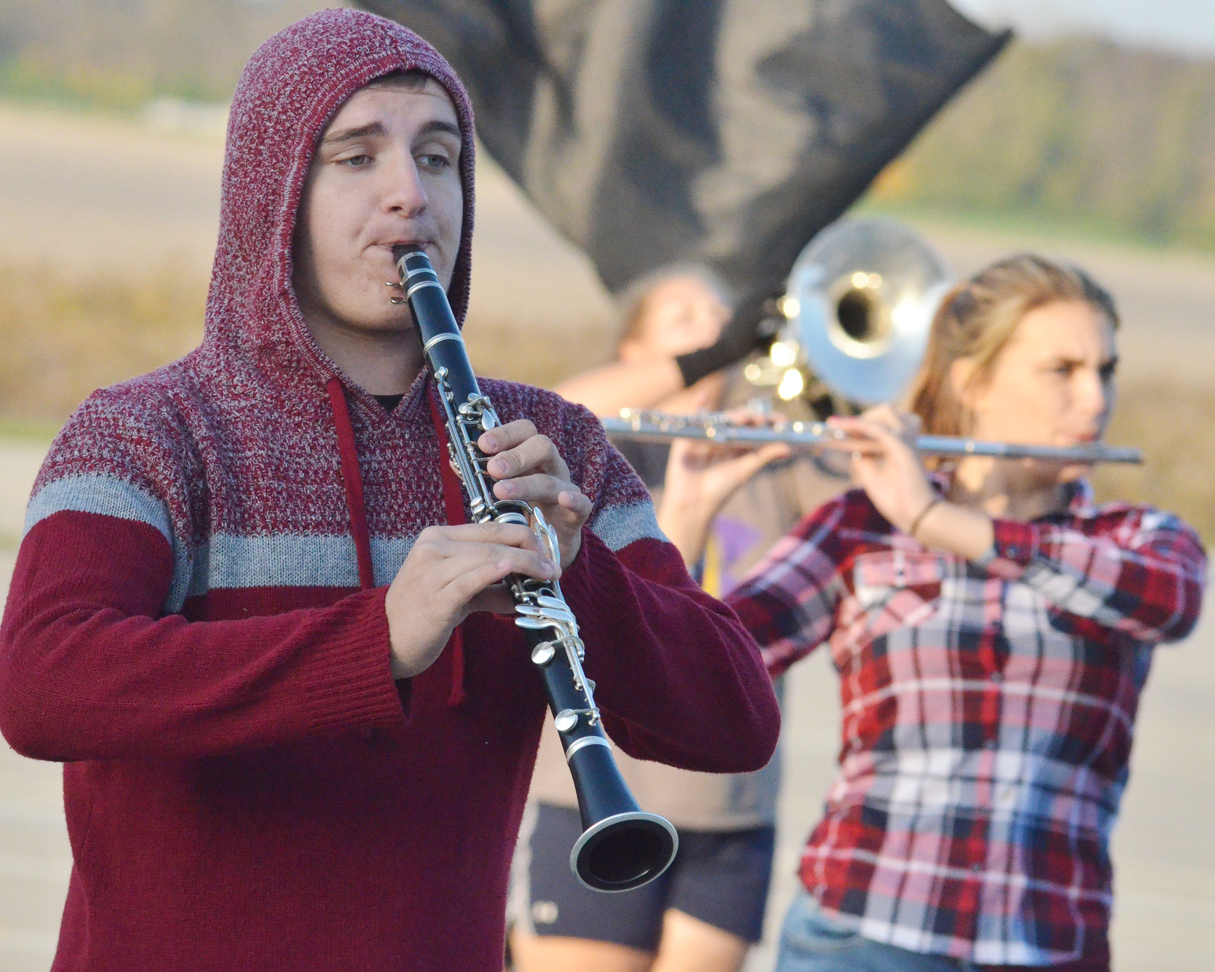 CHS senior Austin Fitzgerald plays clarinet during the last practice of the season.