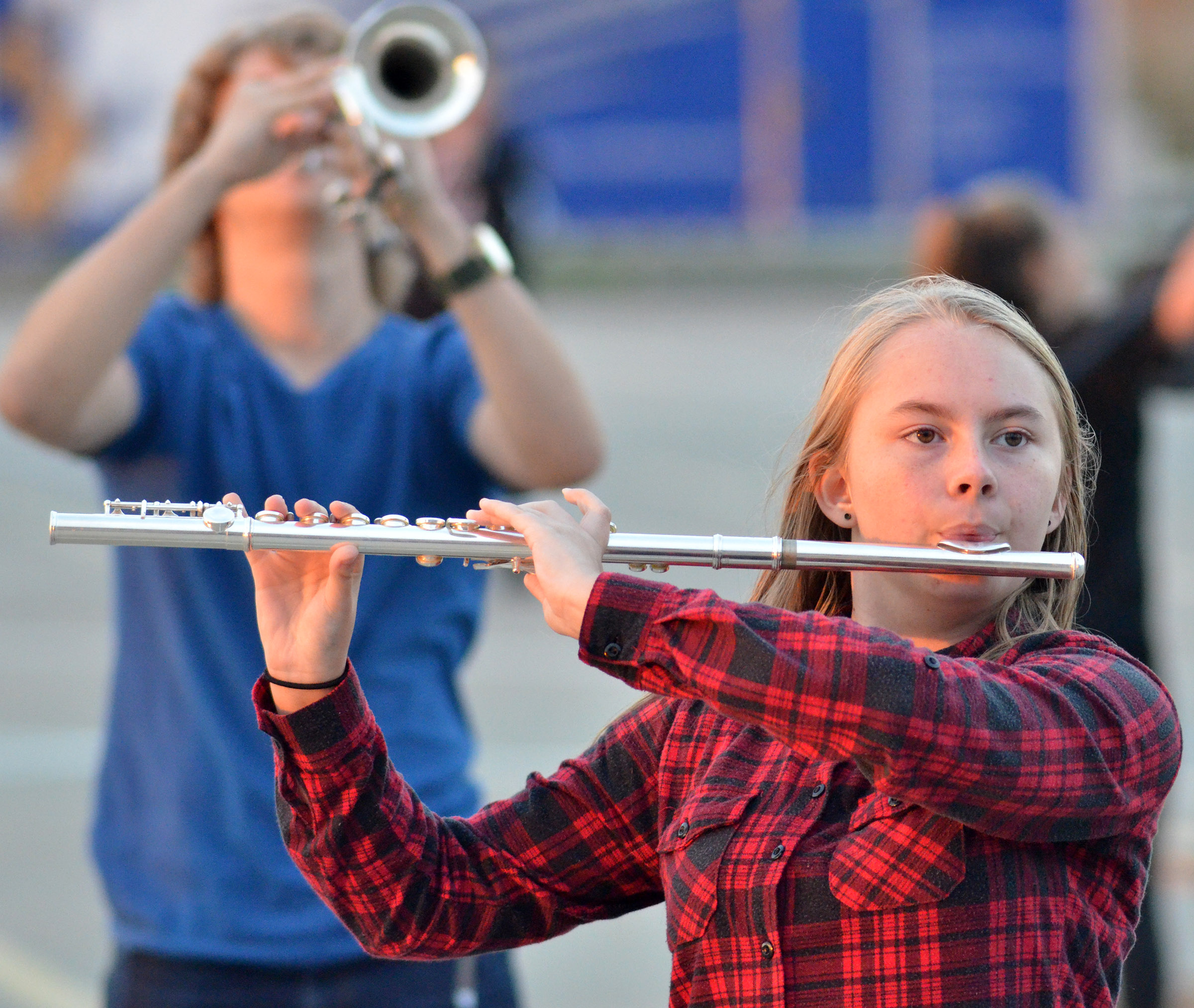CHS freshman Emily Hayden plays flute during the last practice of the season.