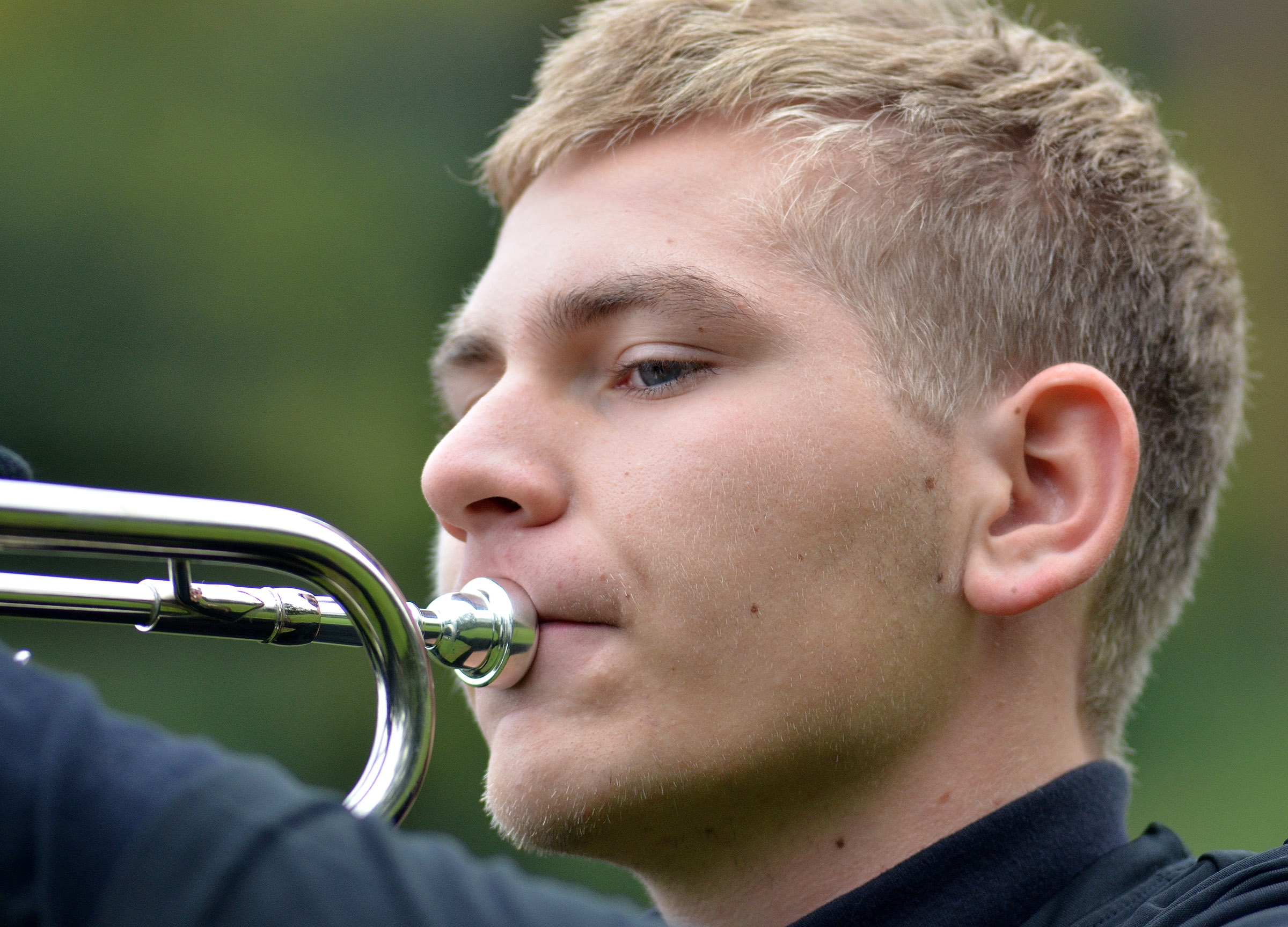 CHS junior Brandon Greer plays trumpet in semi-finals competition.