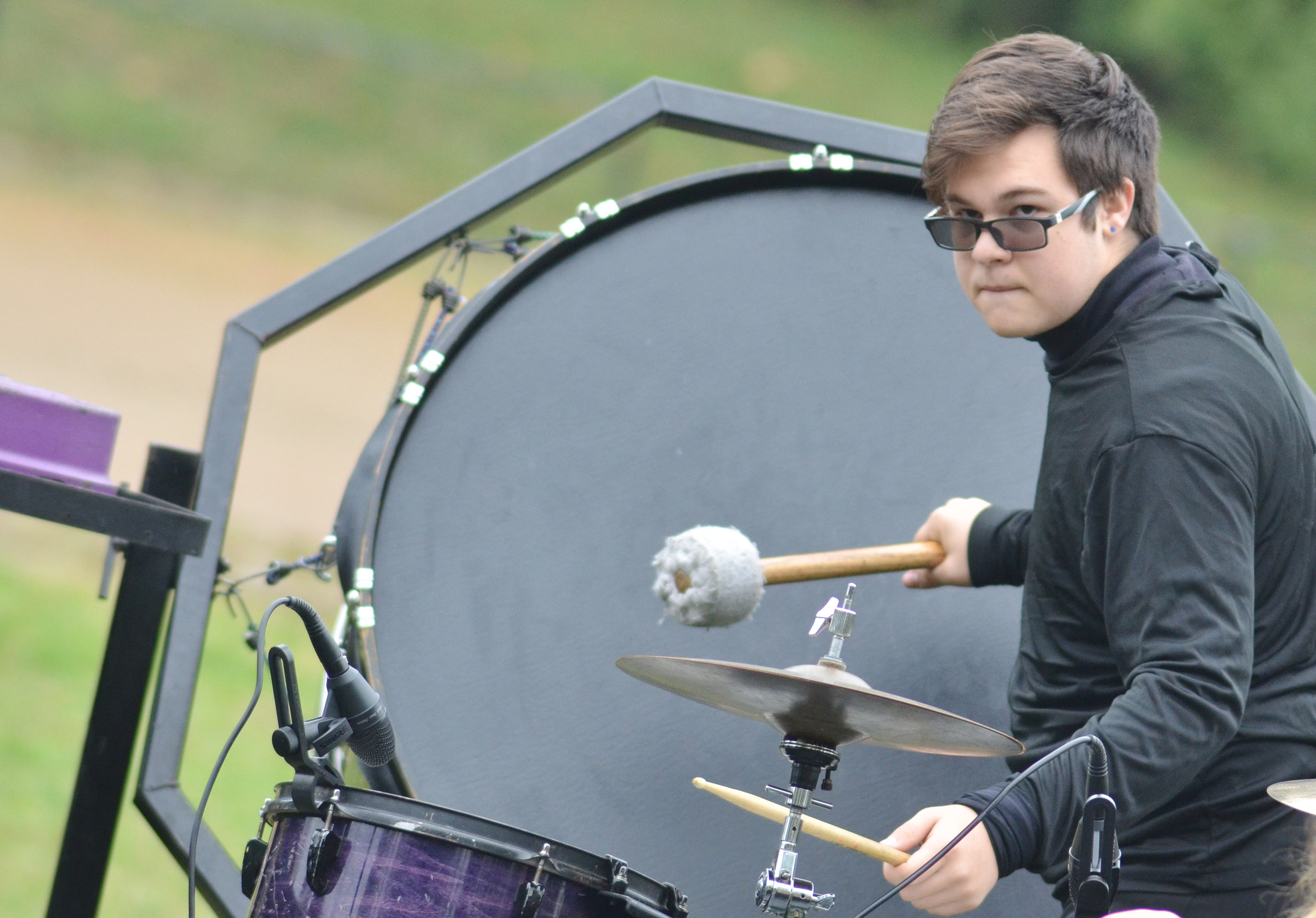 CHS junior Kyler Rakes plays percussion in semi-finals competition.