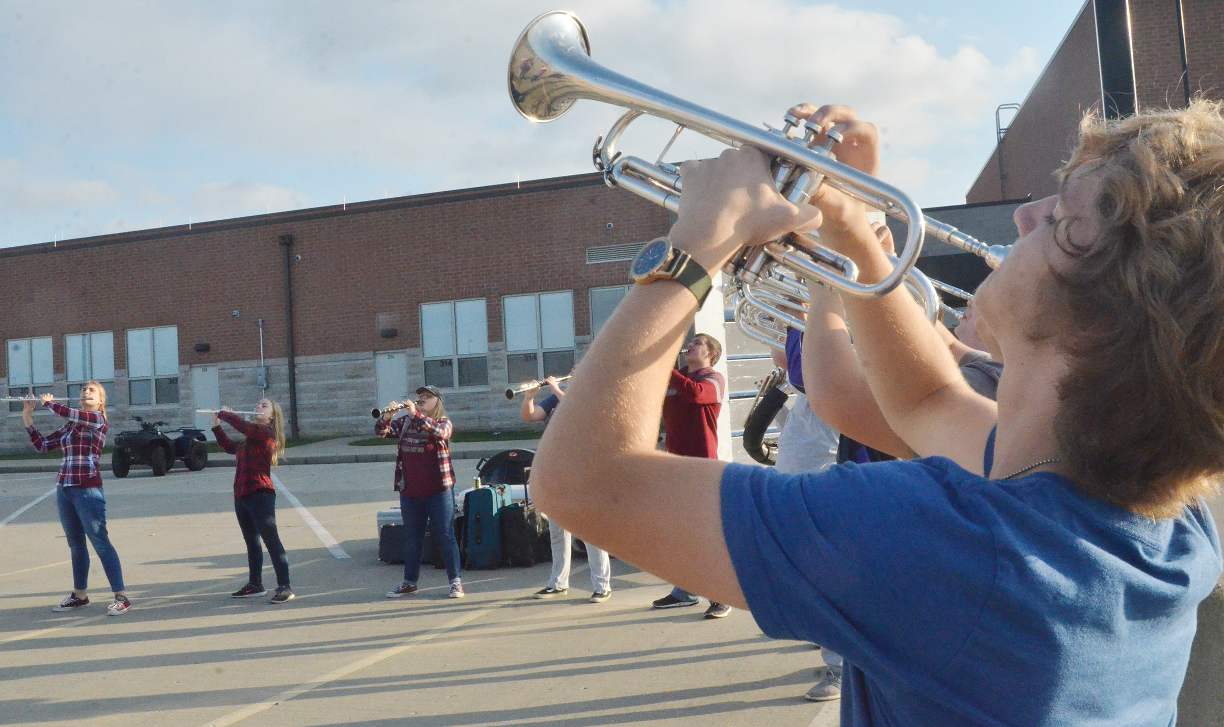 CHS sophomore Tristin Lopez plays trumpet during the last practice of the season.