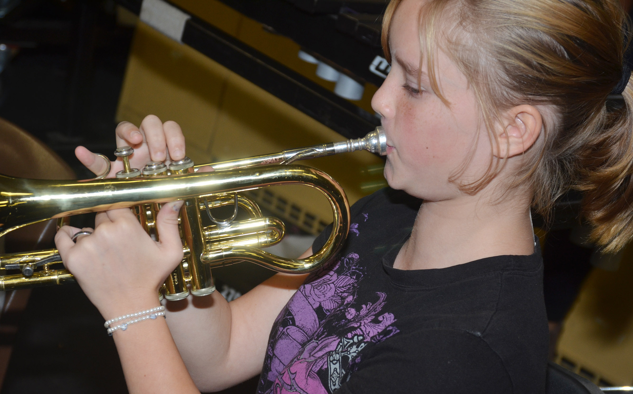 CES seventh-grader Tonya Parker plays trumpet.