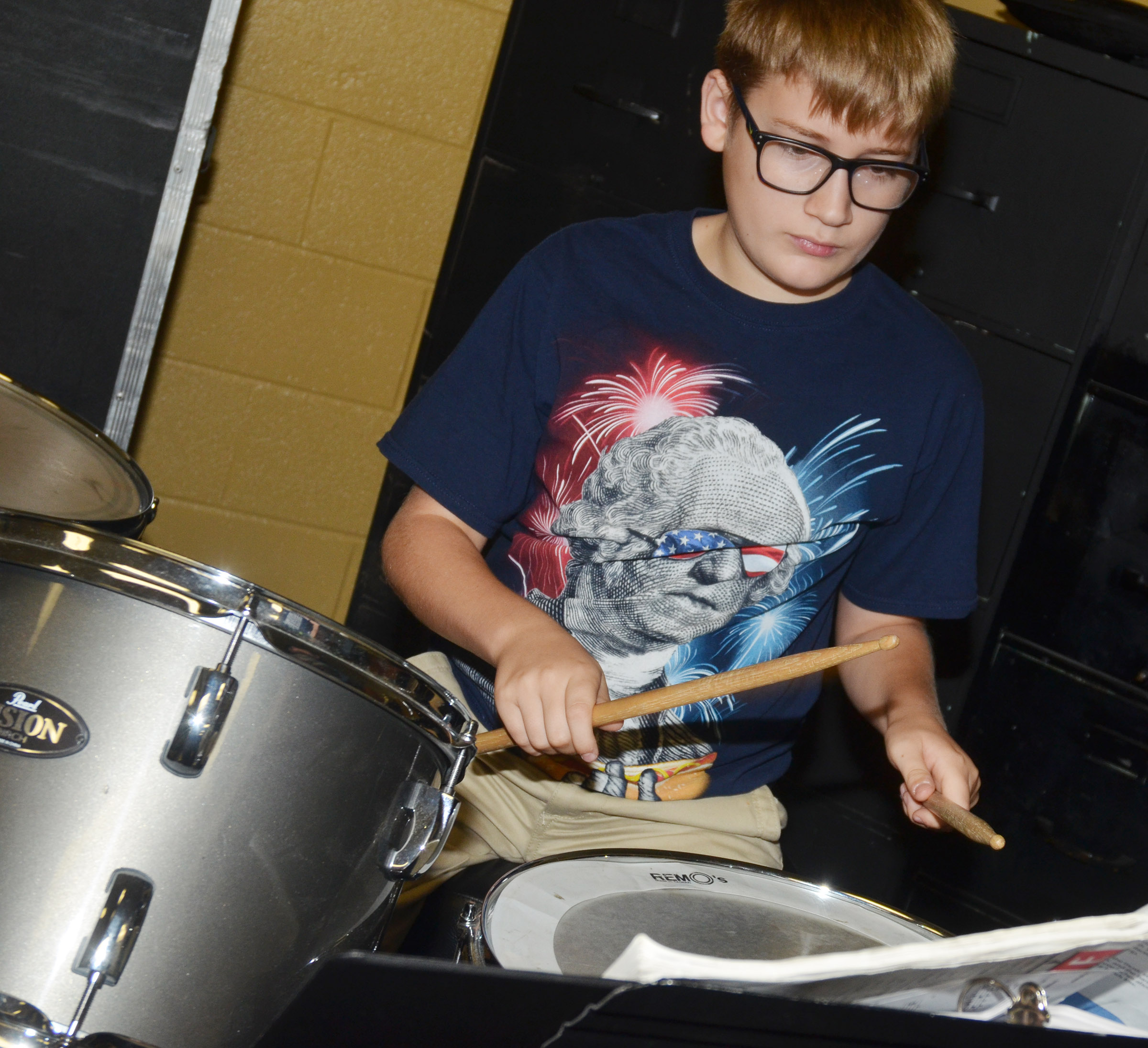 CES seventh-grader Brady Hoosier plays drums.
