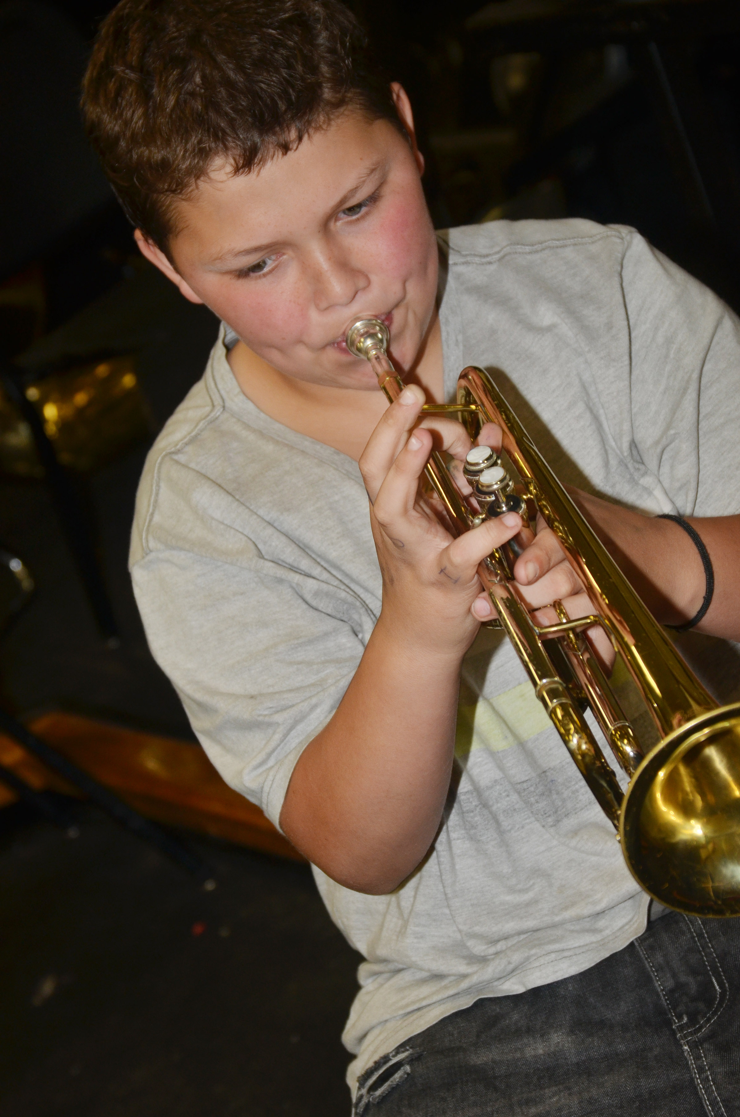 CES seventh-grader Joseph Rawlings plays trumpet.