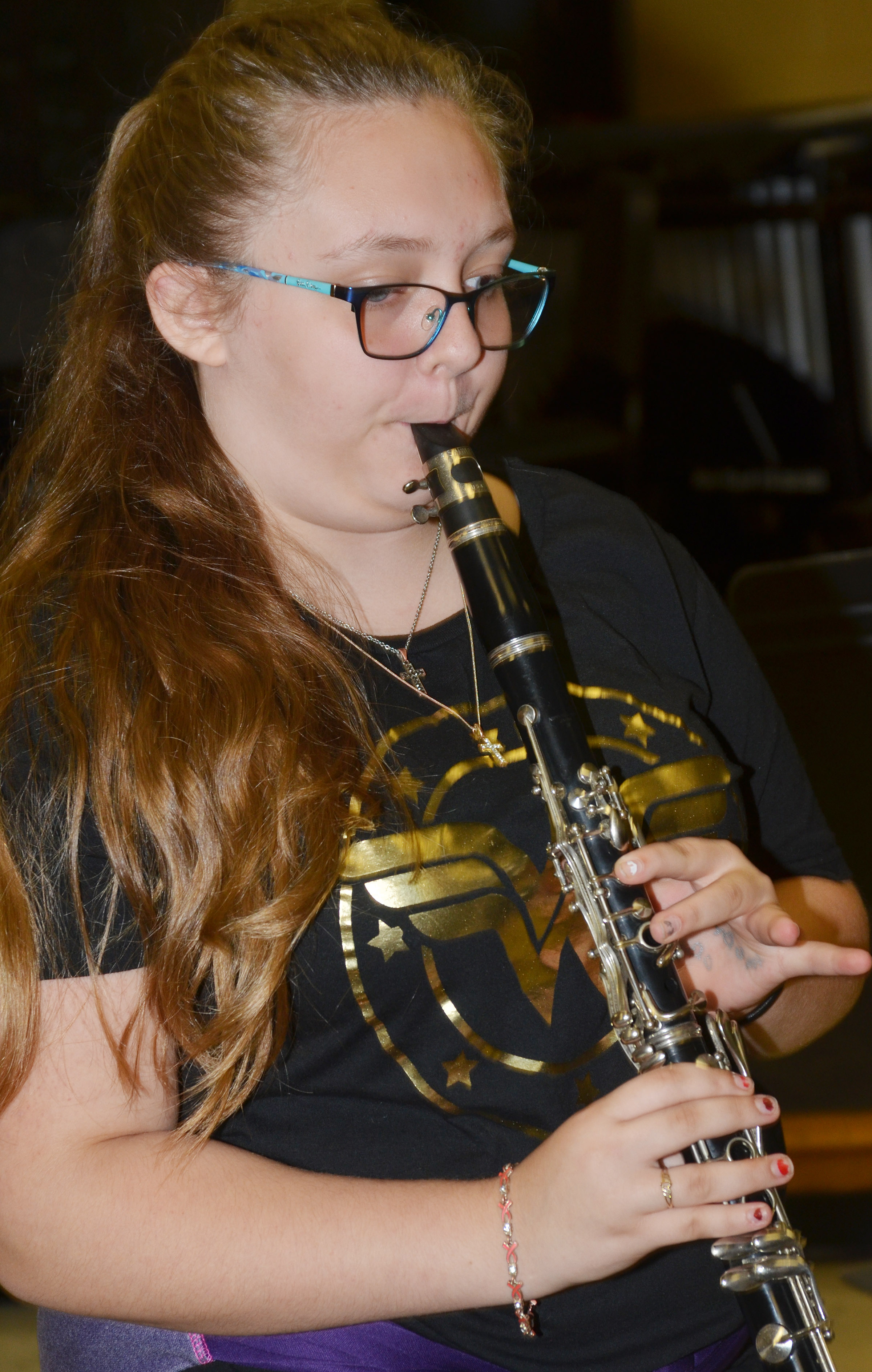 CES seventh-grader Elizabeth Lopez plays clarinet.