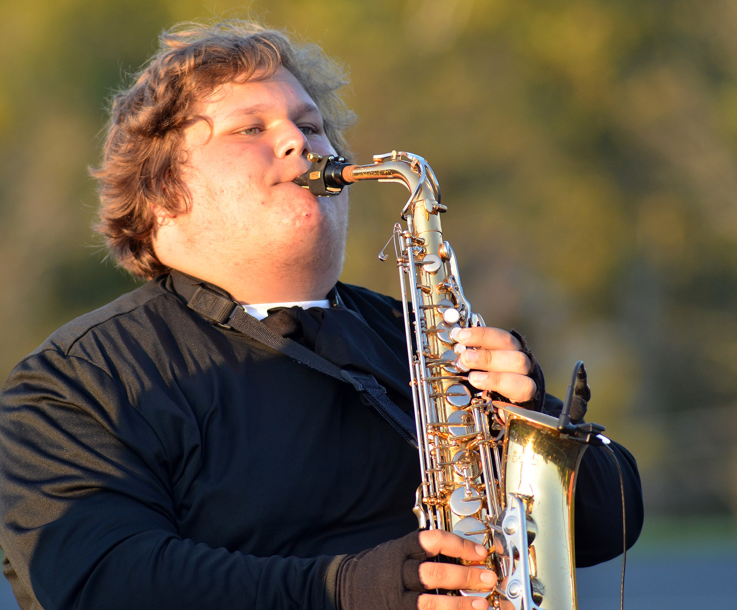 CHS junior Randy Harris plays saxophone.