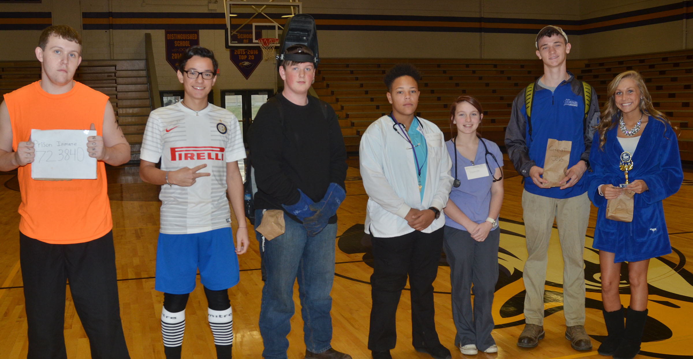 CHS students receive prizes for dressing the best on Future You College and Career Day.