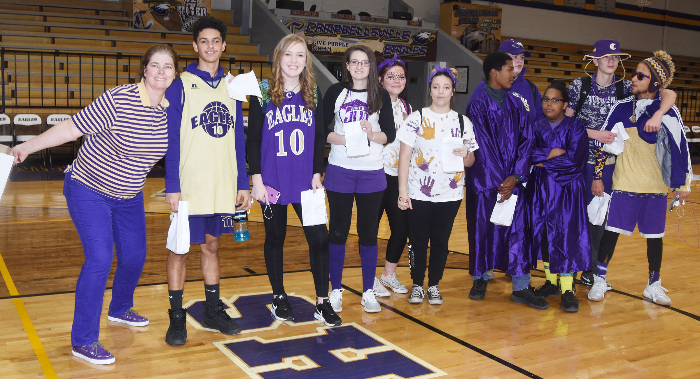 CHS students are chosen as winners for Purple and Gold Day.