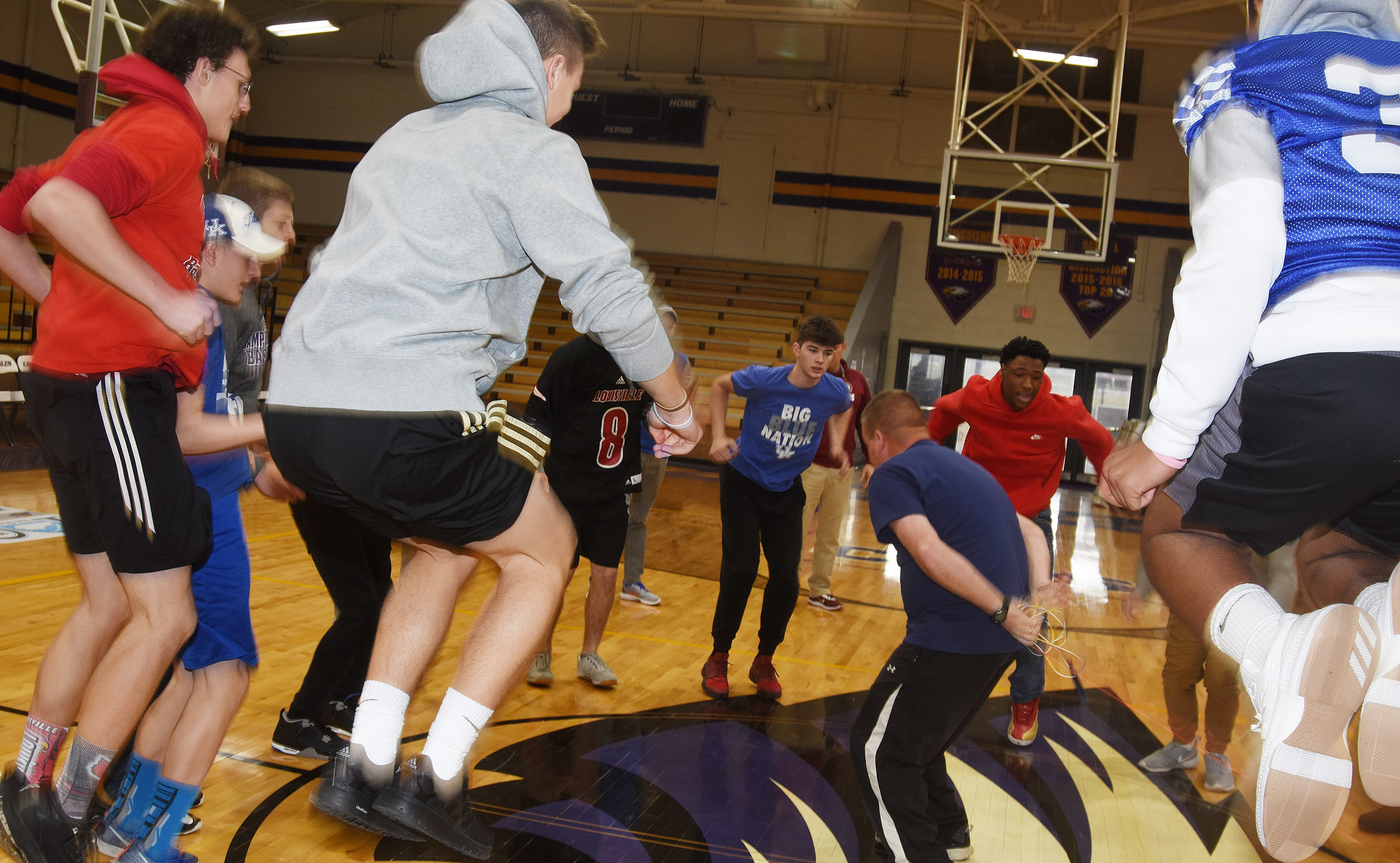 CHS students play the spirit game Jake the Snake.