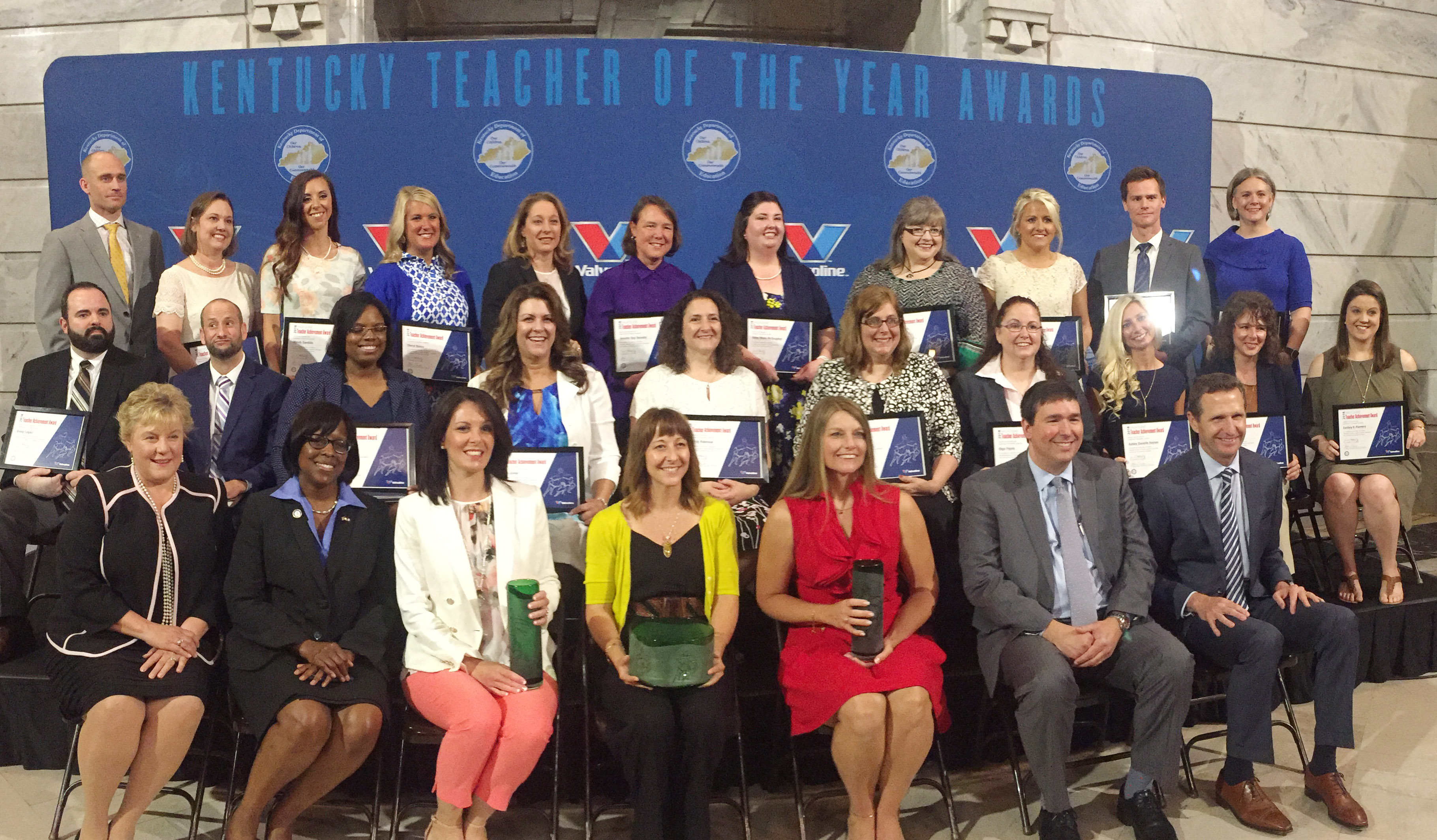 CHS teacher Ben Davis, second row, second from left, poses for a photo with the other award winners.