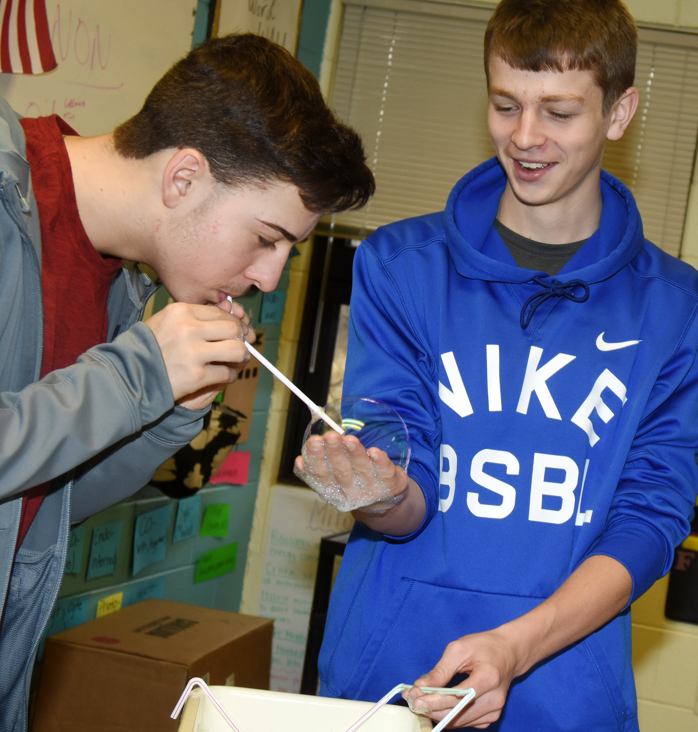 CHS freshman John Orberson places a straw through a bubble as sophomore Noah Hughes holds it.