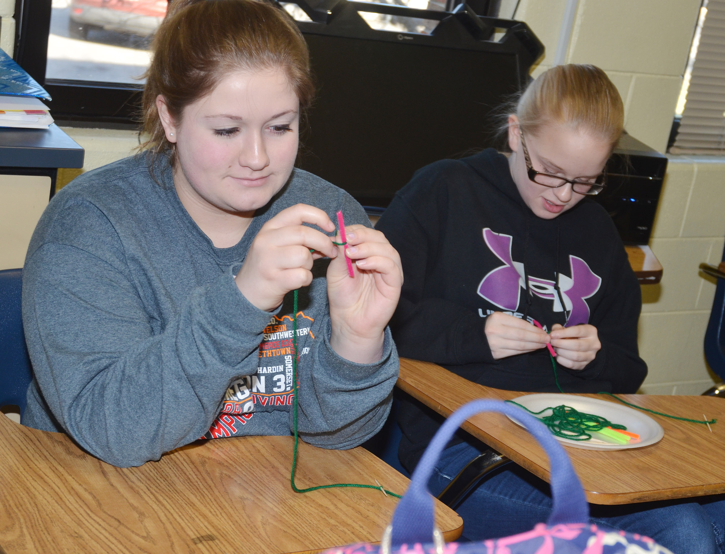 CHS freshmen Aleah Knifley, at left, and Tahler Franklin use pipe cleaners to model the parts of a cell.