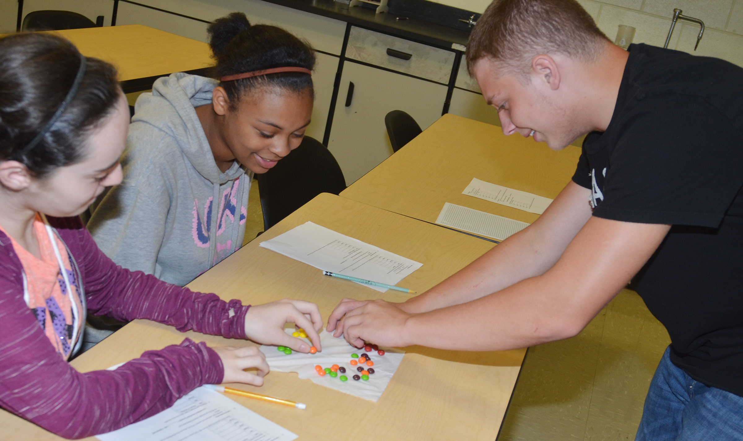 From left, CHS sophomores Jewell Cox, Alexis Lane and Devon Reardon count and sort their Skittles candies.