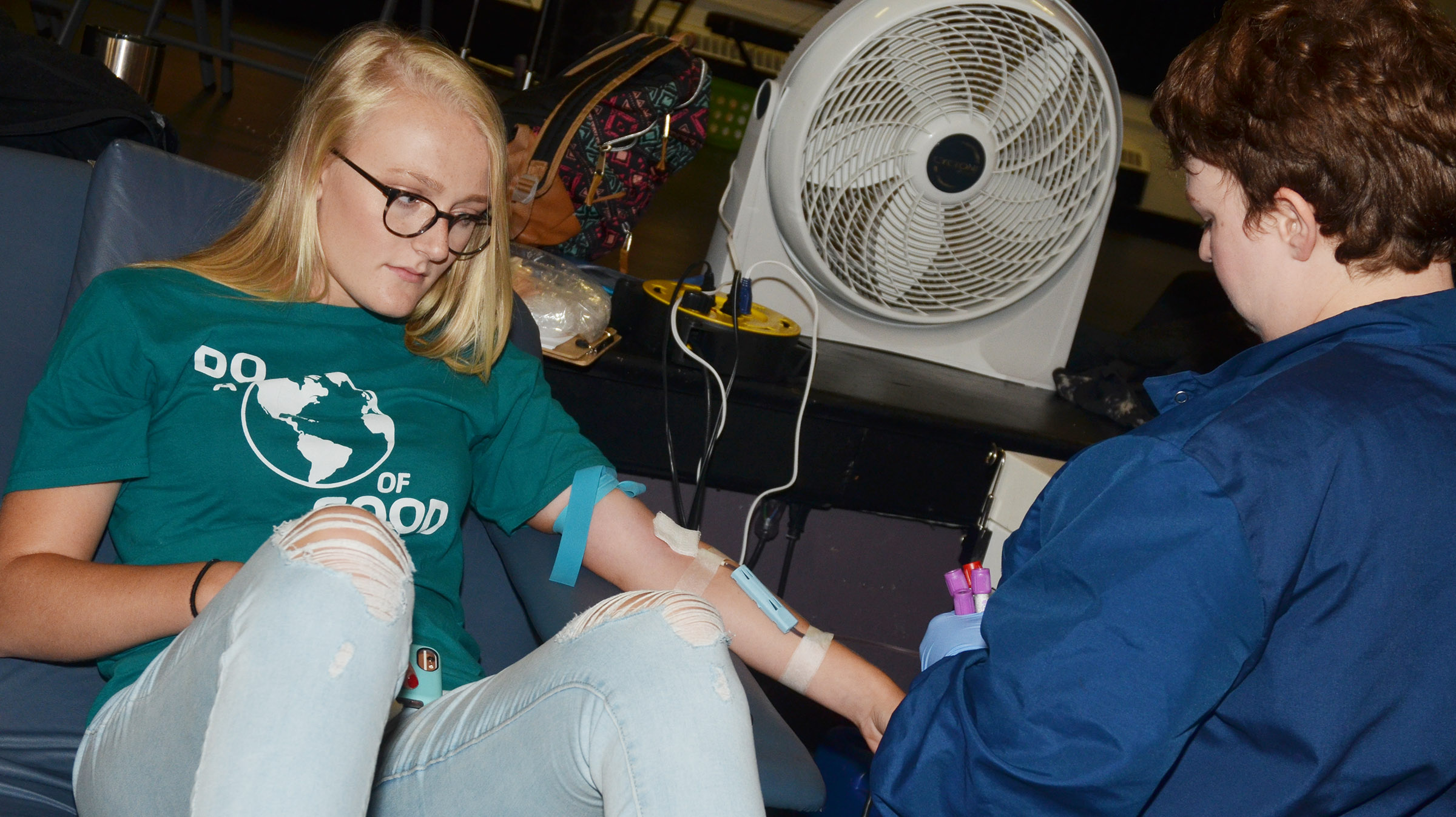 CHS junior Abbie Dicken donates blood for the first time.