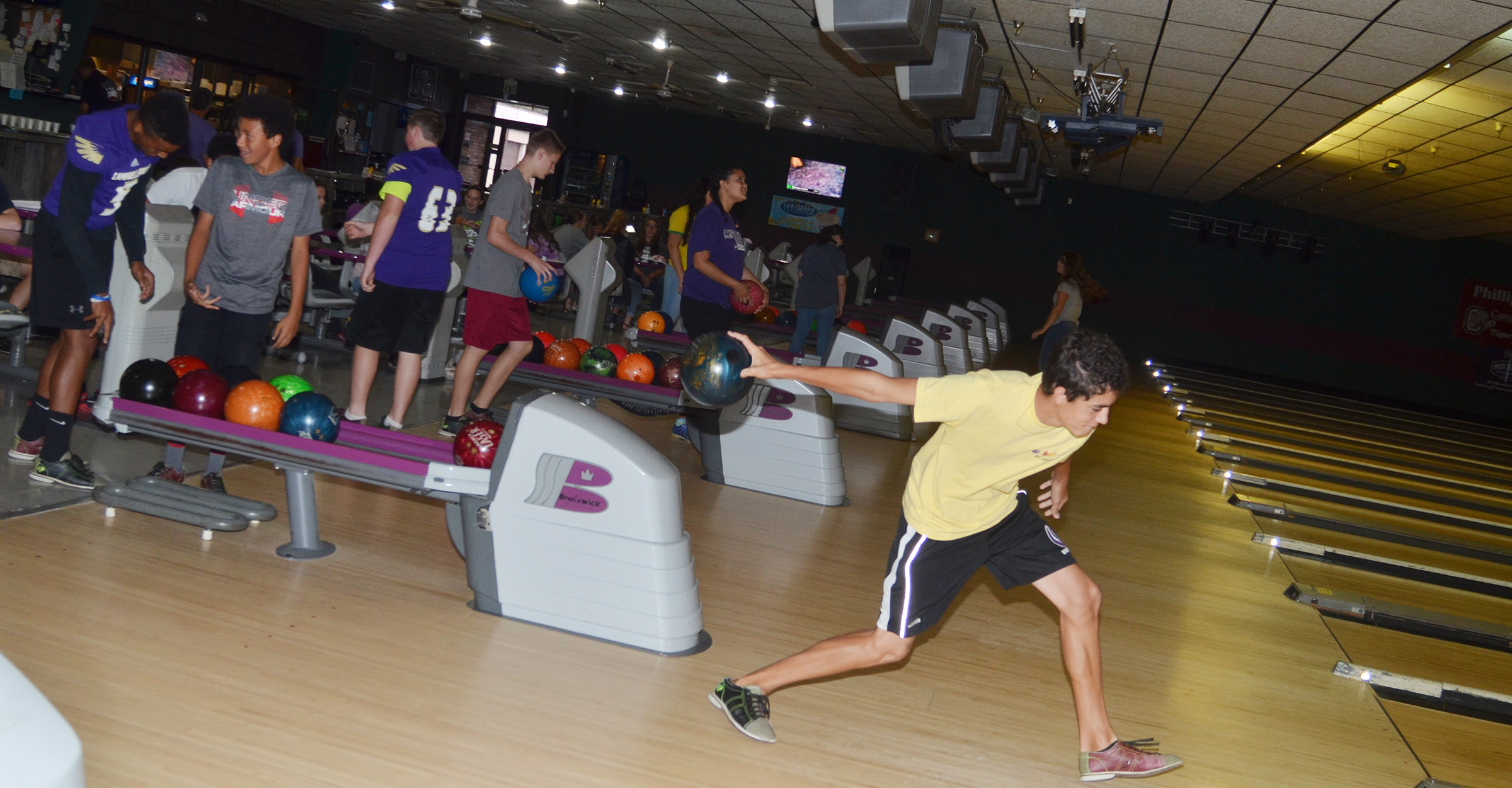 CHS freshman Kameron Smith bowls with his classmates.