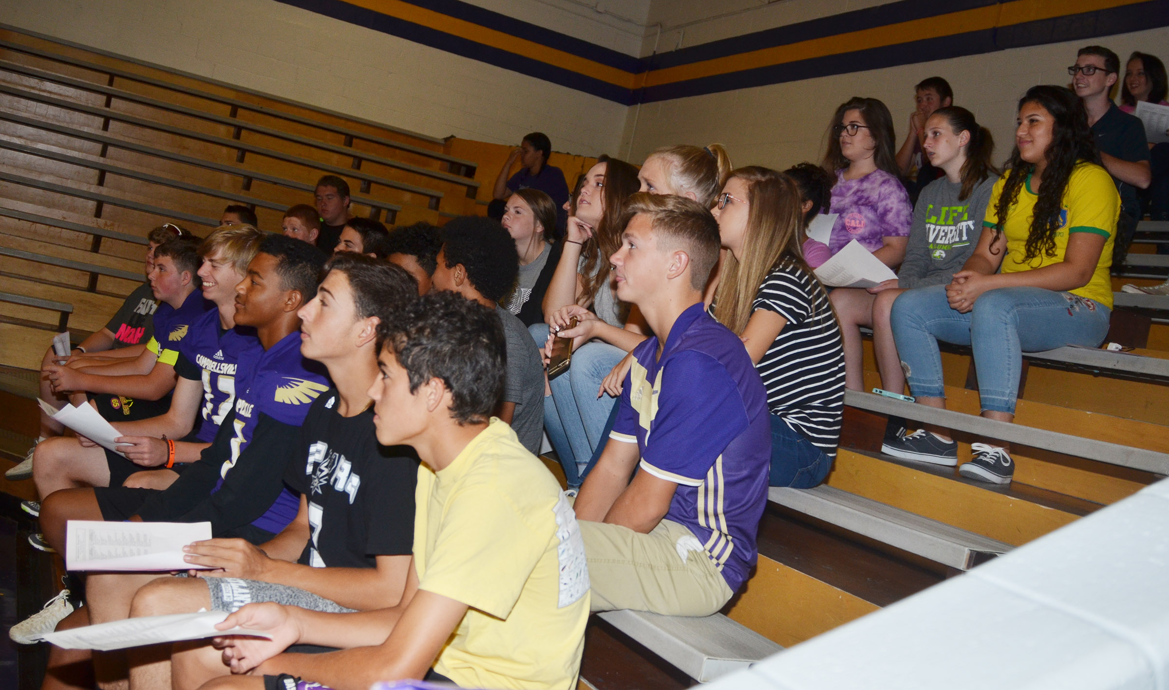 CHS freshmen listen as Principal David Petett tells them his expectations for this school year.