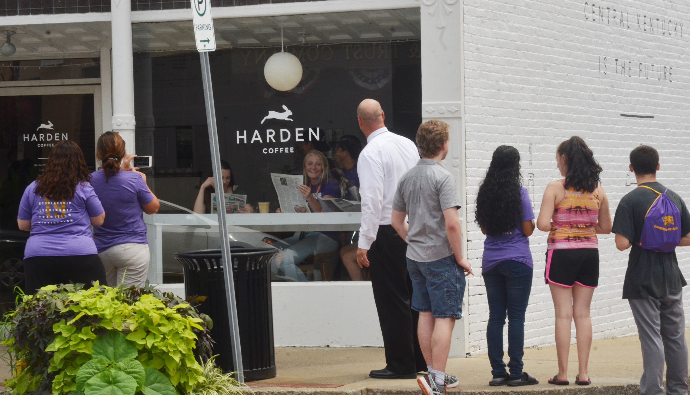 CHS students take a photo of themselves enjoying coffee at Harden Coffee.
