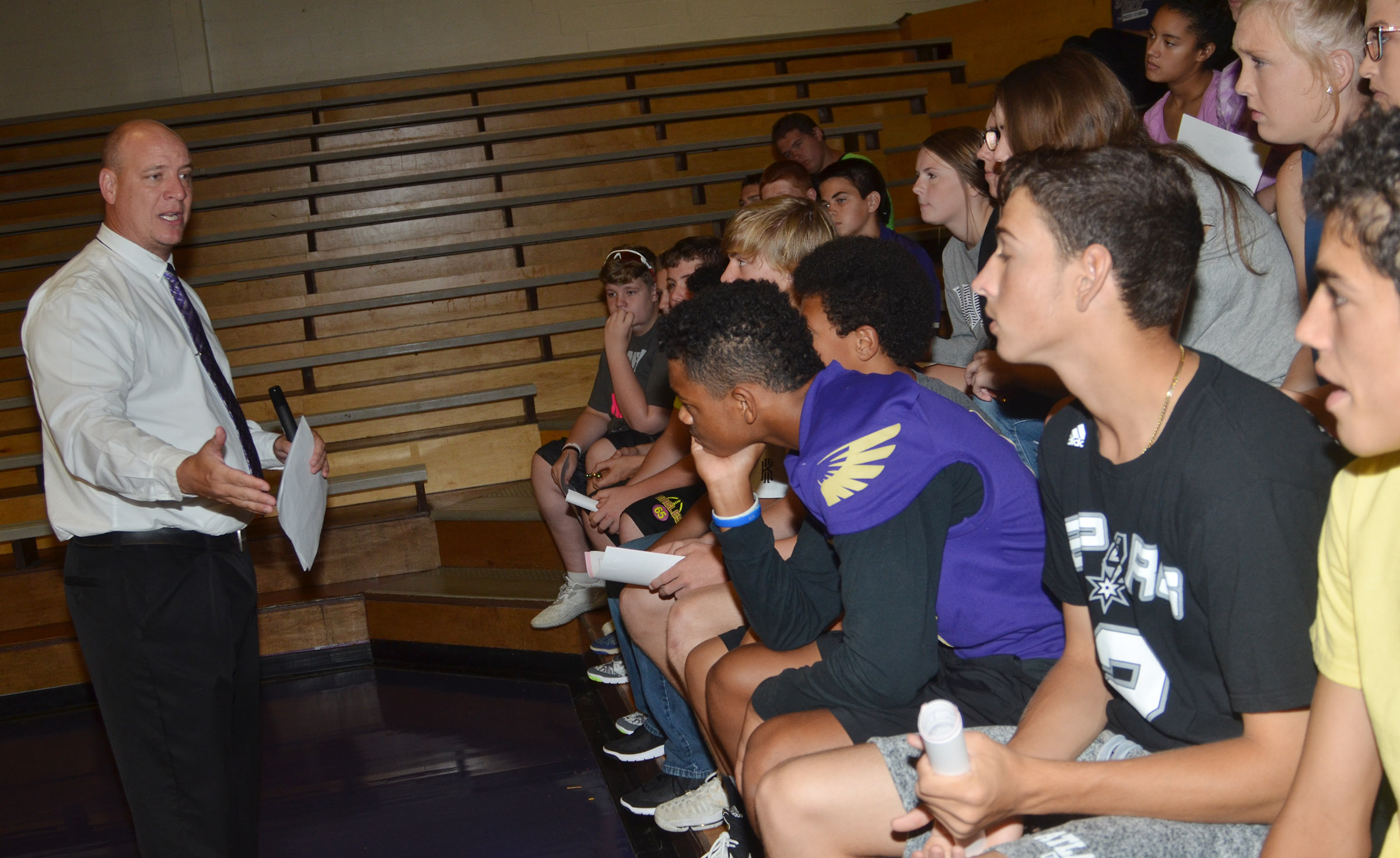 CHS Principal David Petett tells freshmen that he will help them succeed this year.