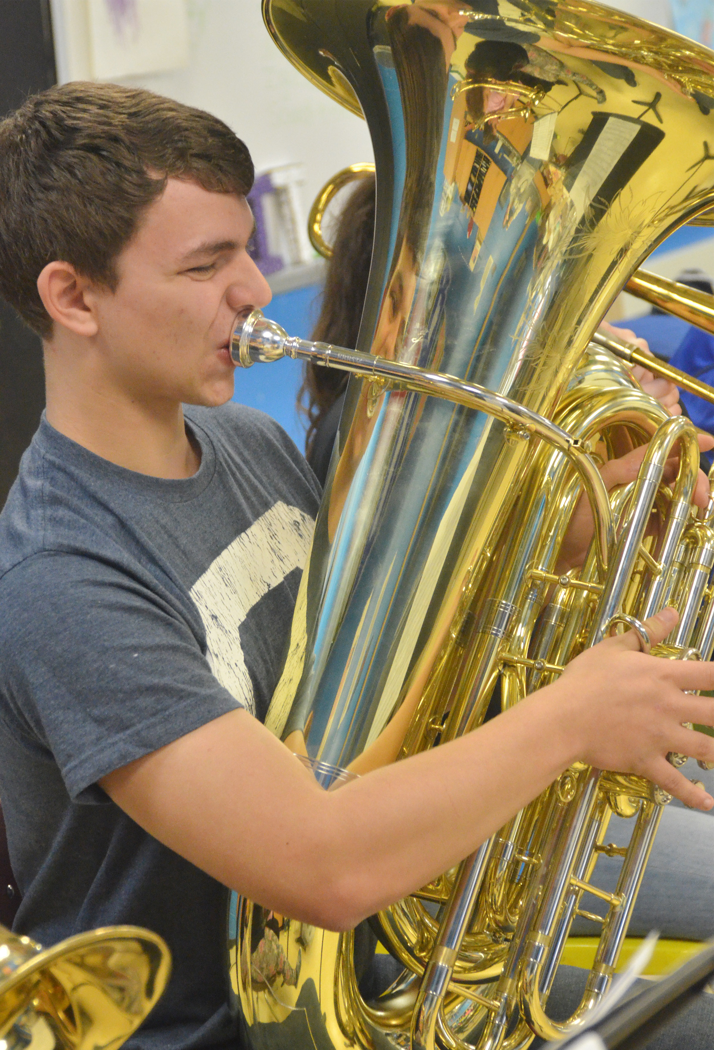 CHS junior Chaz Babbs plays tuba.