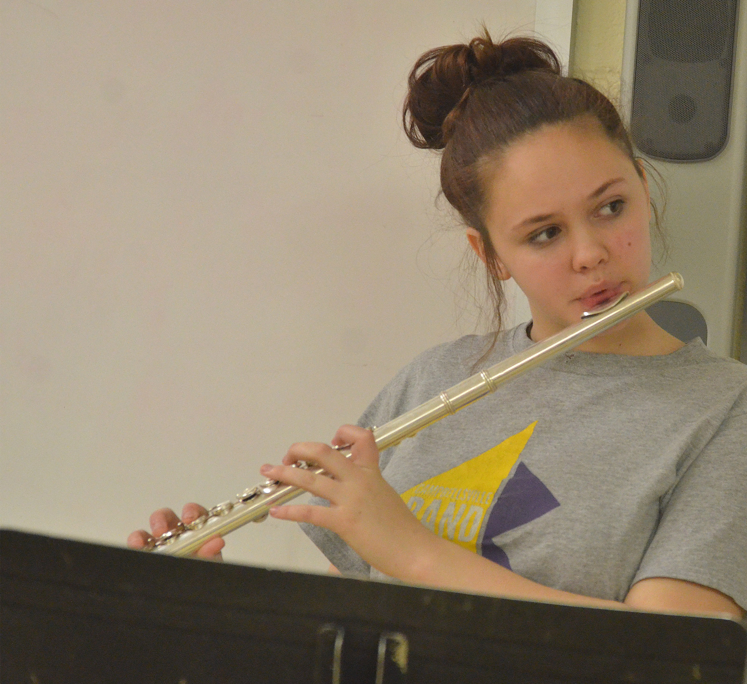 Campbellsville Middle School eighth-grader Mystique Jones plays flute.