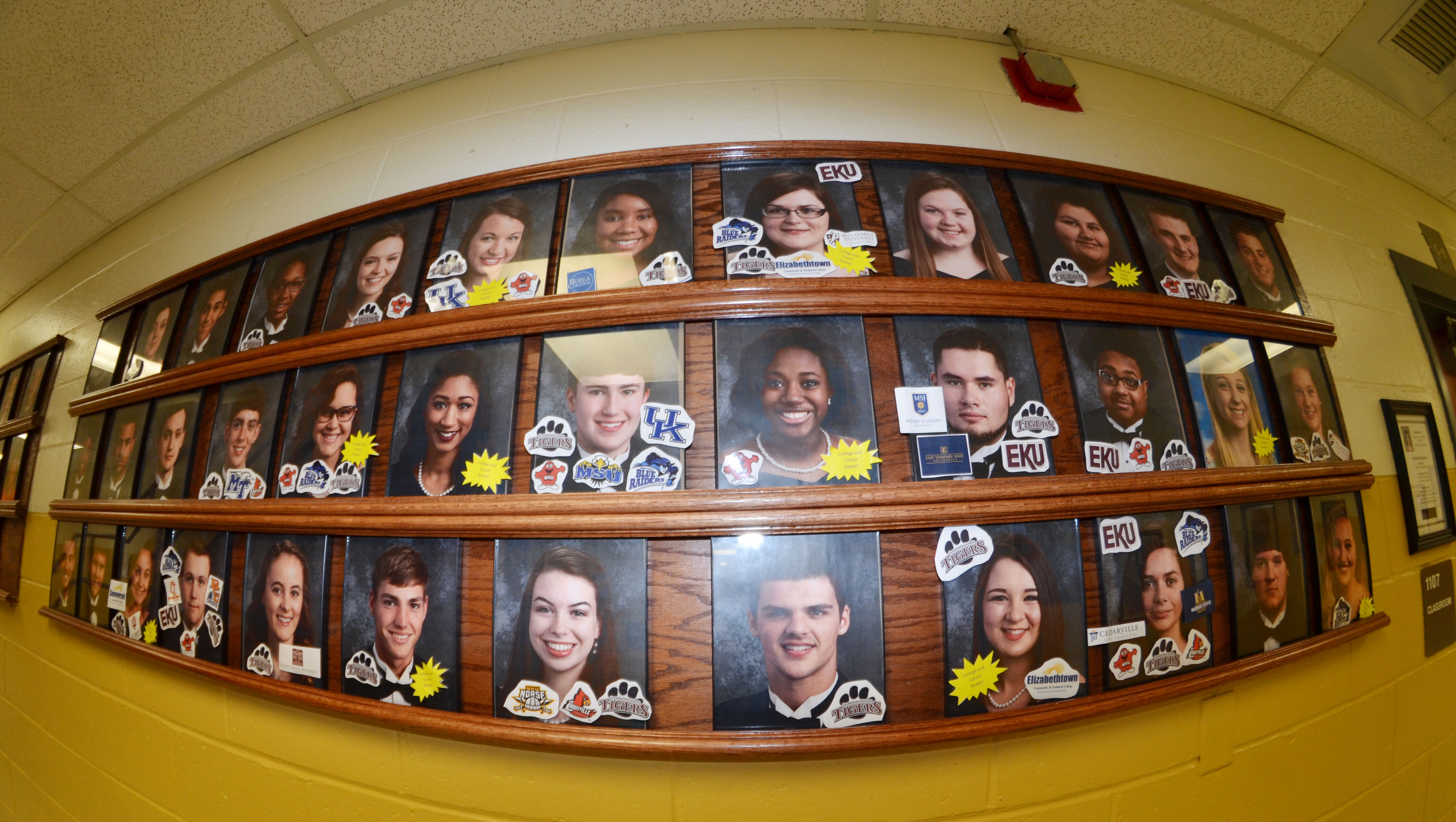CHS students are motivated to complete college and career readiness status by their successes being marked on the wall outside College and Career Readiness Counselor Angie Travis's office.