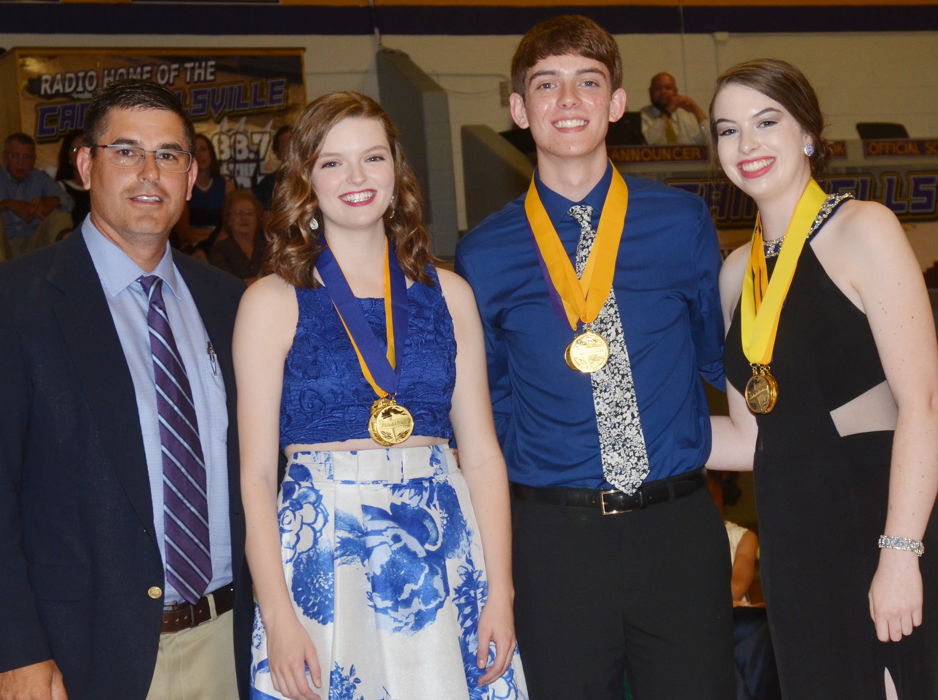 Class of 2017 valedictorians and salutatorian, pictured with CHS Principal Kirby Smith are, from left, valedictorians Blair Lamb and Murphy Lamb and salutatorian Laura Lamb.