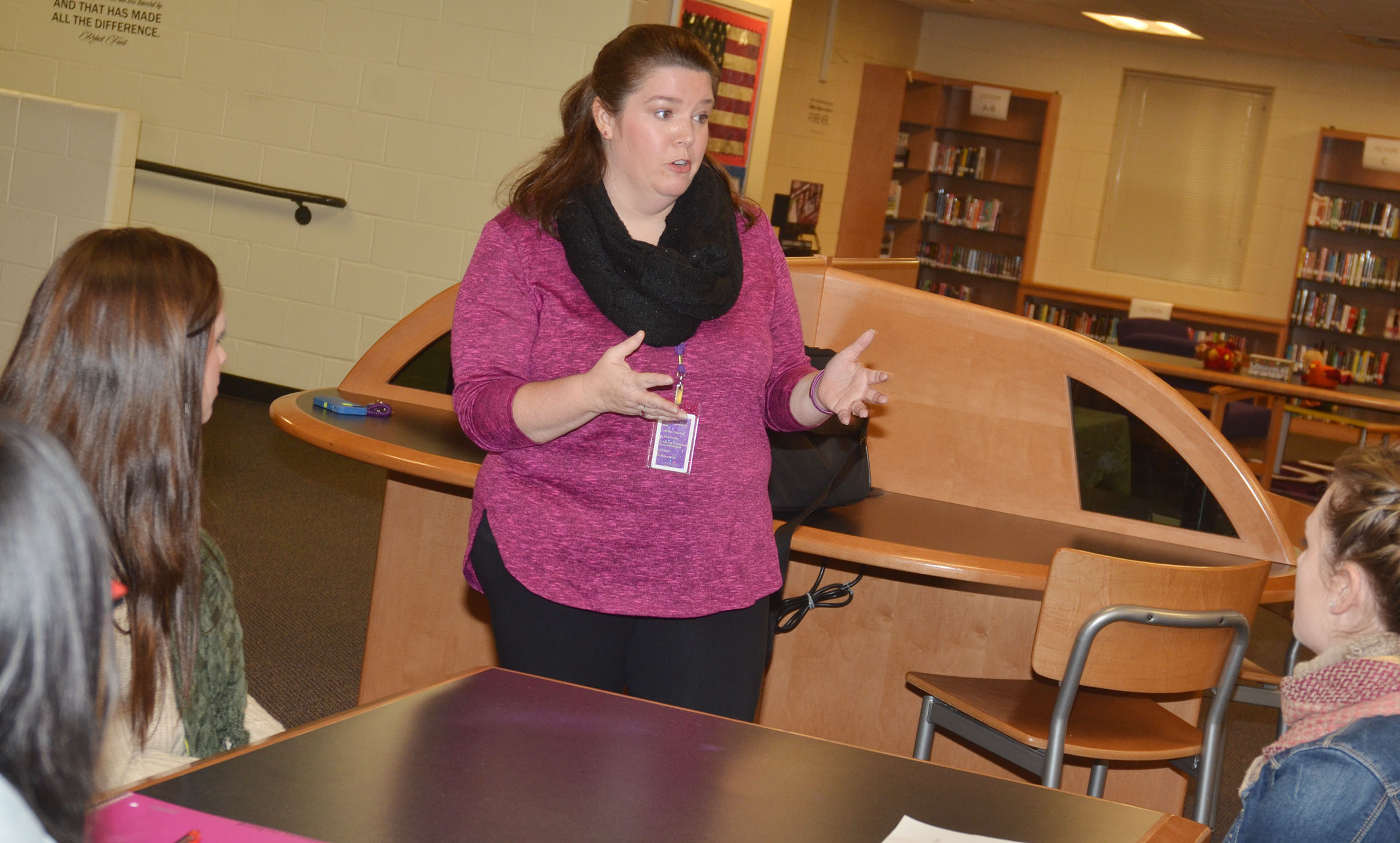 CMS Guidance Counselor Beth Wiedewitsch talks to CU education students.