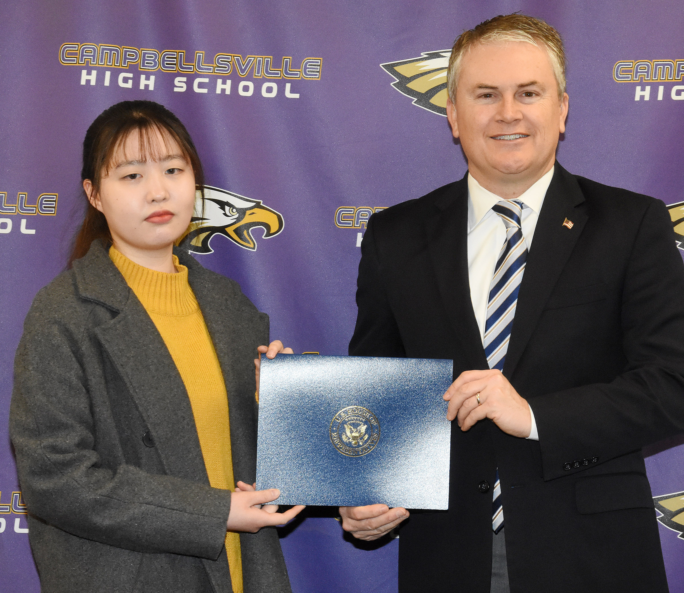 "U.S. Rep. James Comer, R-Ky., visited CHS on Tuesday, Jan. 23, to meet with CHS AP computer science students and to honor CHS senior Eujin ""Sydney"" Jeong, who participated in the First District 2017 Congressional App Challenge."