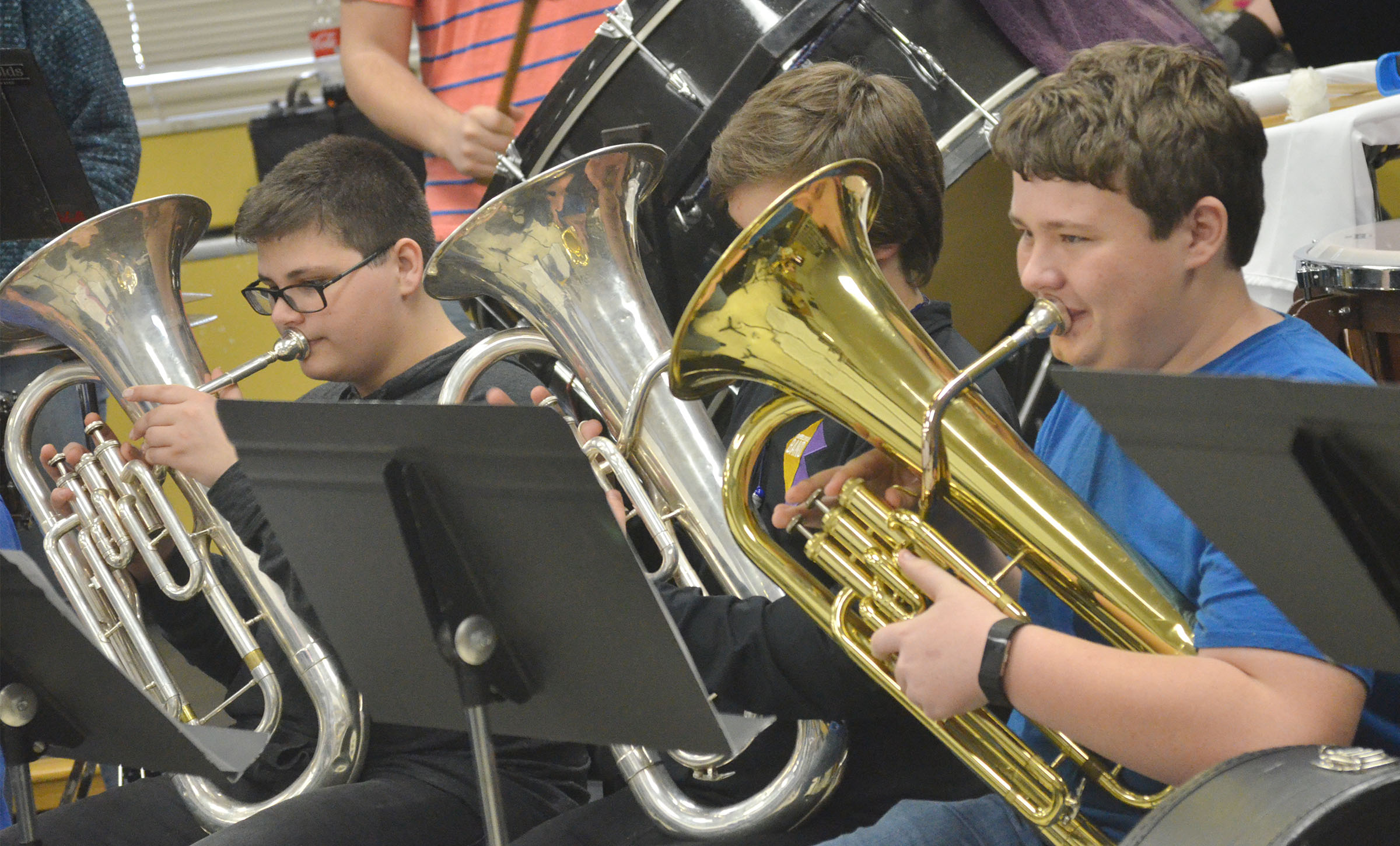 From left, CHS freshmen Gabriel Gutierrez, Campbellsville Middle School eighth-grader Nick Drew and freshman Conner Riley play baritone.