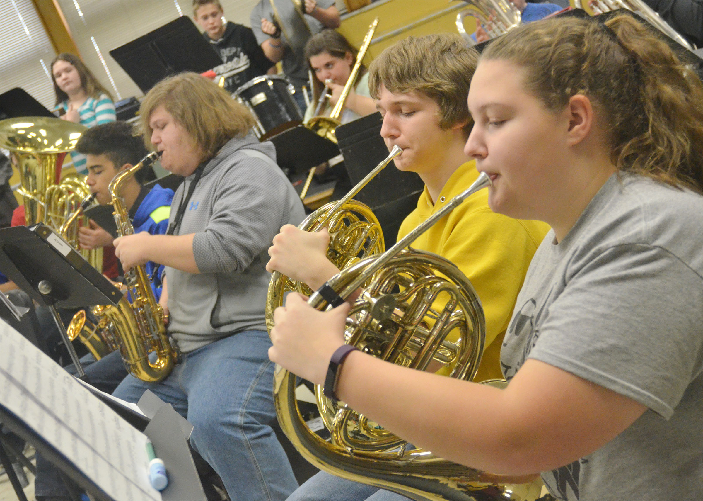 "CHS freshman Tristin Lopez and Abie Angel play ""Arrows"" with their band mates."