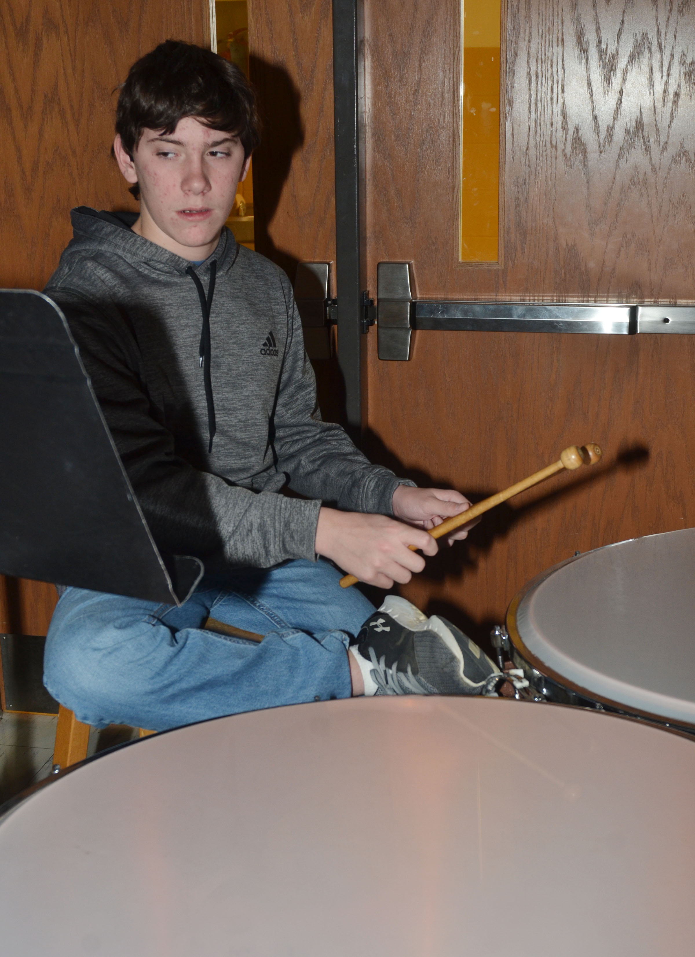 "Campbellsville Middle School seventh-grader Peyton Dabney practices ""Arrows"" on timpani."