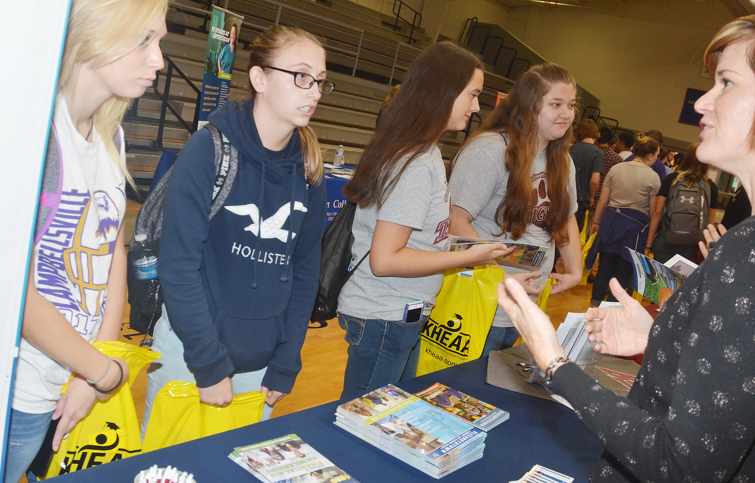From left, CHS seniors Jasmine Coomer, Brookelyn Franklin, Makala Antle and Lauren Riddle learn about Elizabethtown Community & Technical College.