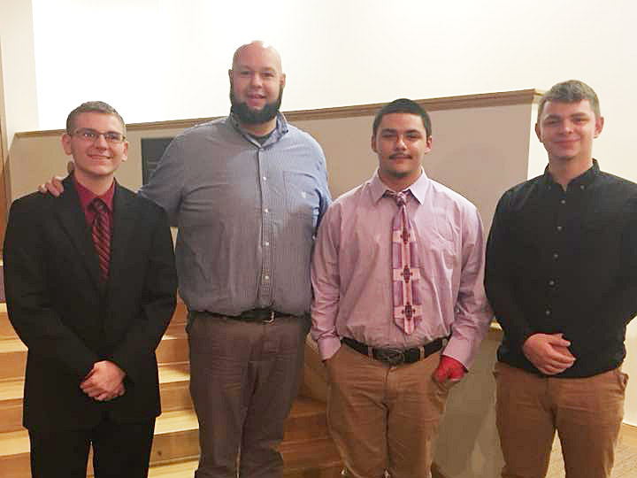 Campbellsville High School band students recently participated in the Campbellsville University Honors Band program. From left are junior Brandon Greer, band director Zach Shelton, junior Nick Cowan and senior Chaz Babbs.