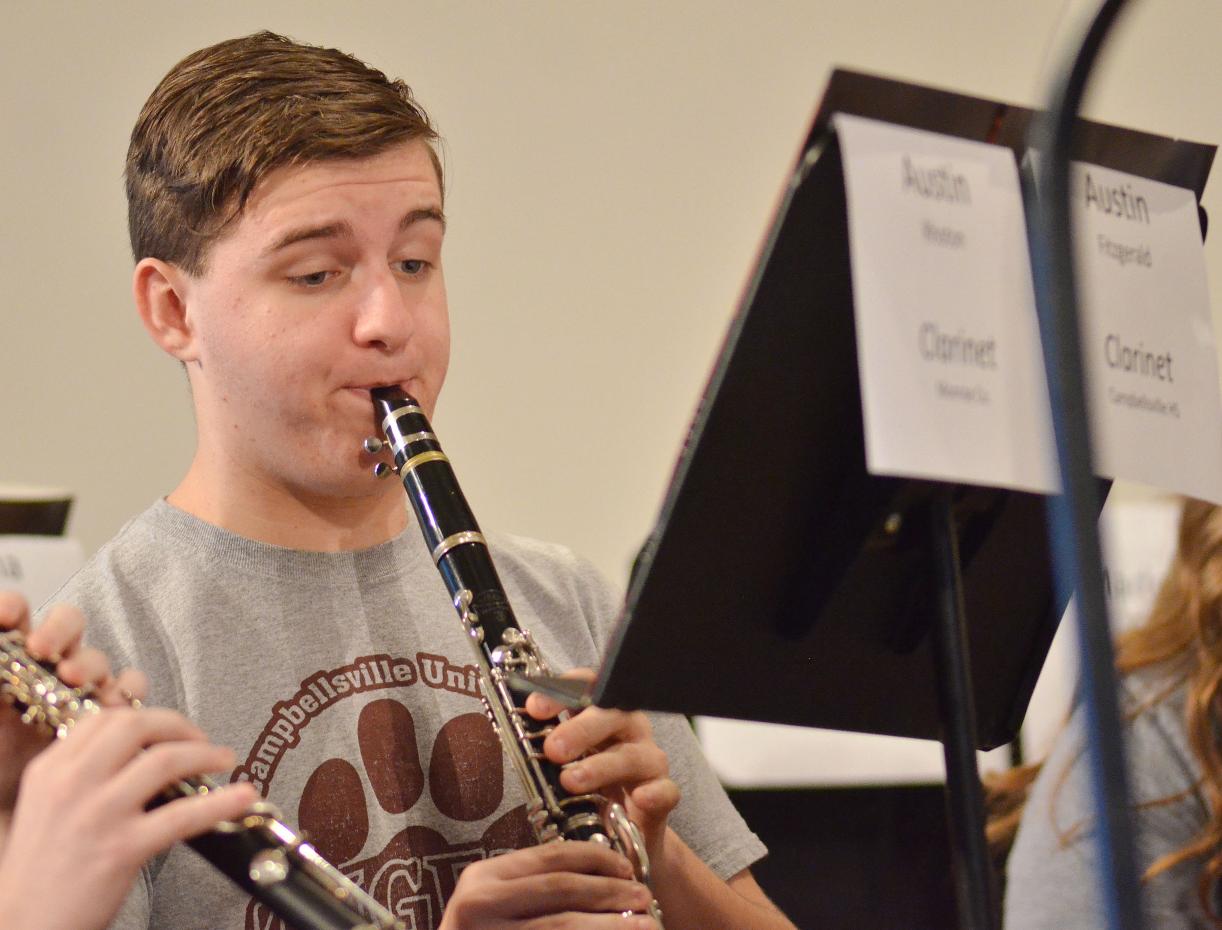 CHS junior Austin Fitzgerald plays clarinet during a CU Honors Band rehearsal.